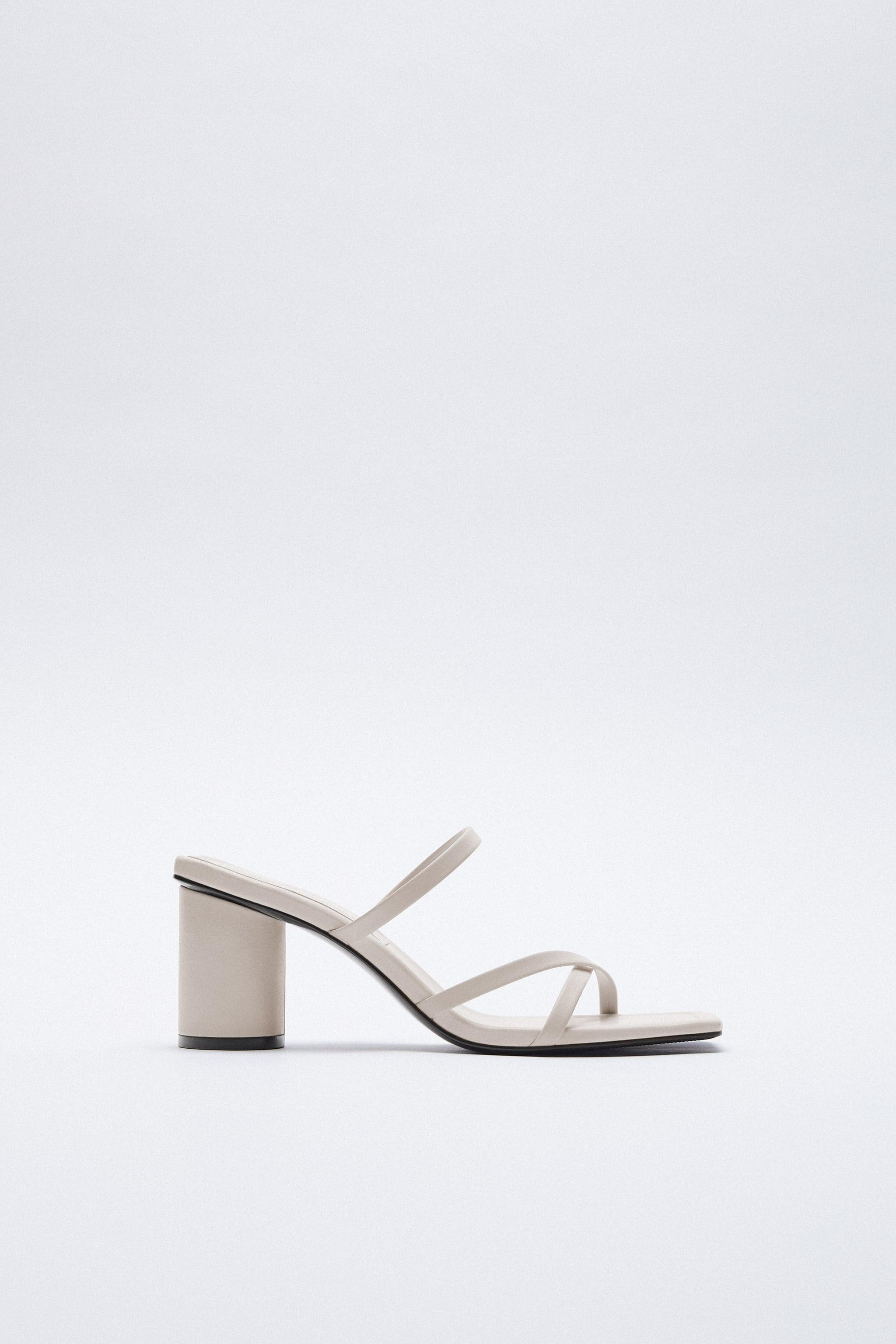 HEELED LEATHER SQUARE TOE SANDALS 1