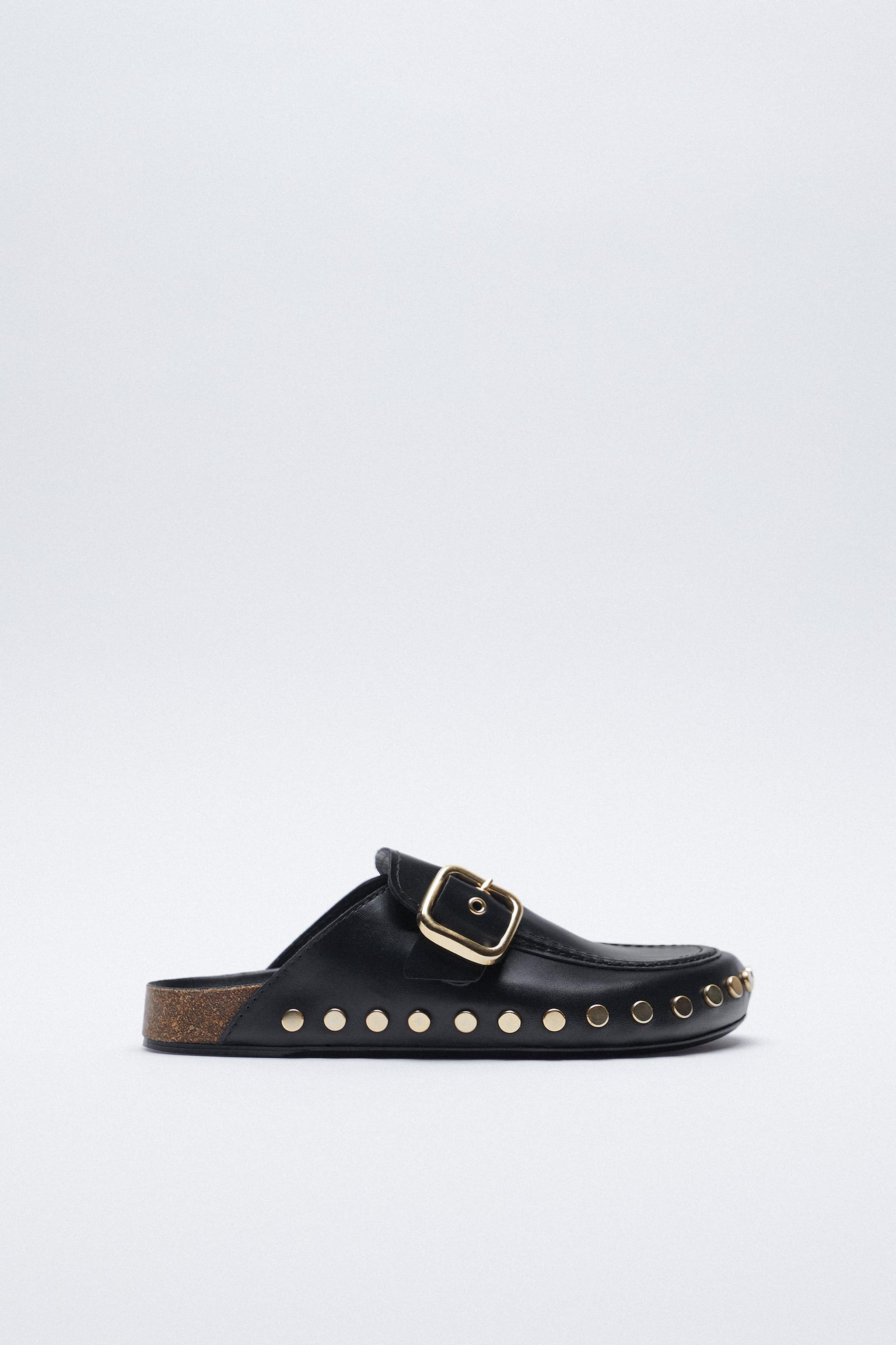 LOW HEEL LEATHER CLOGS WITH STUDS 2