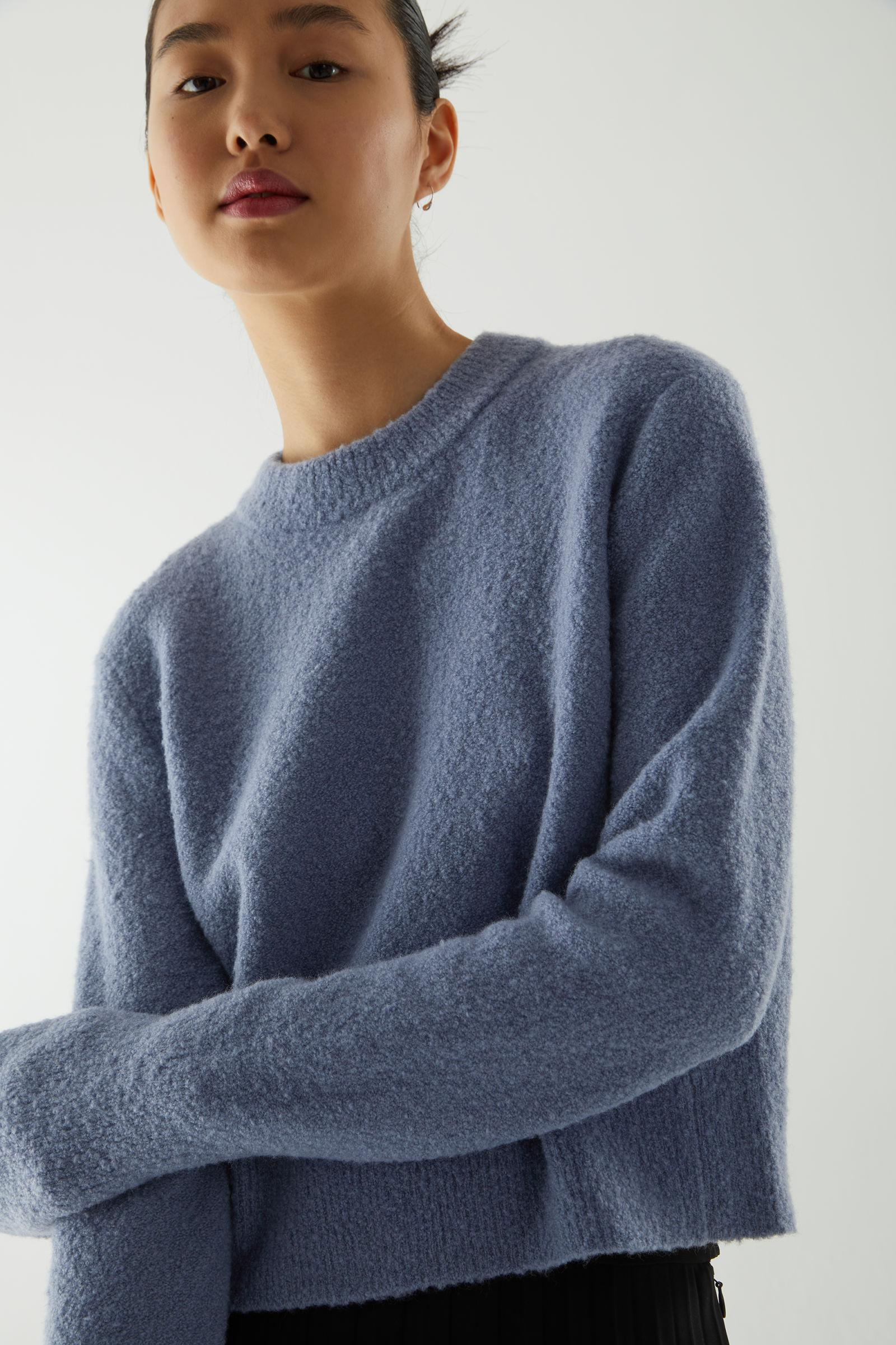 CROPPED WOOL MIX JUMPER