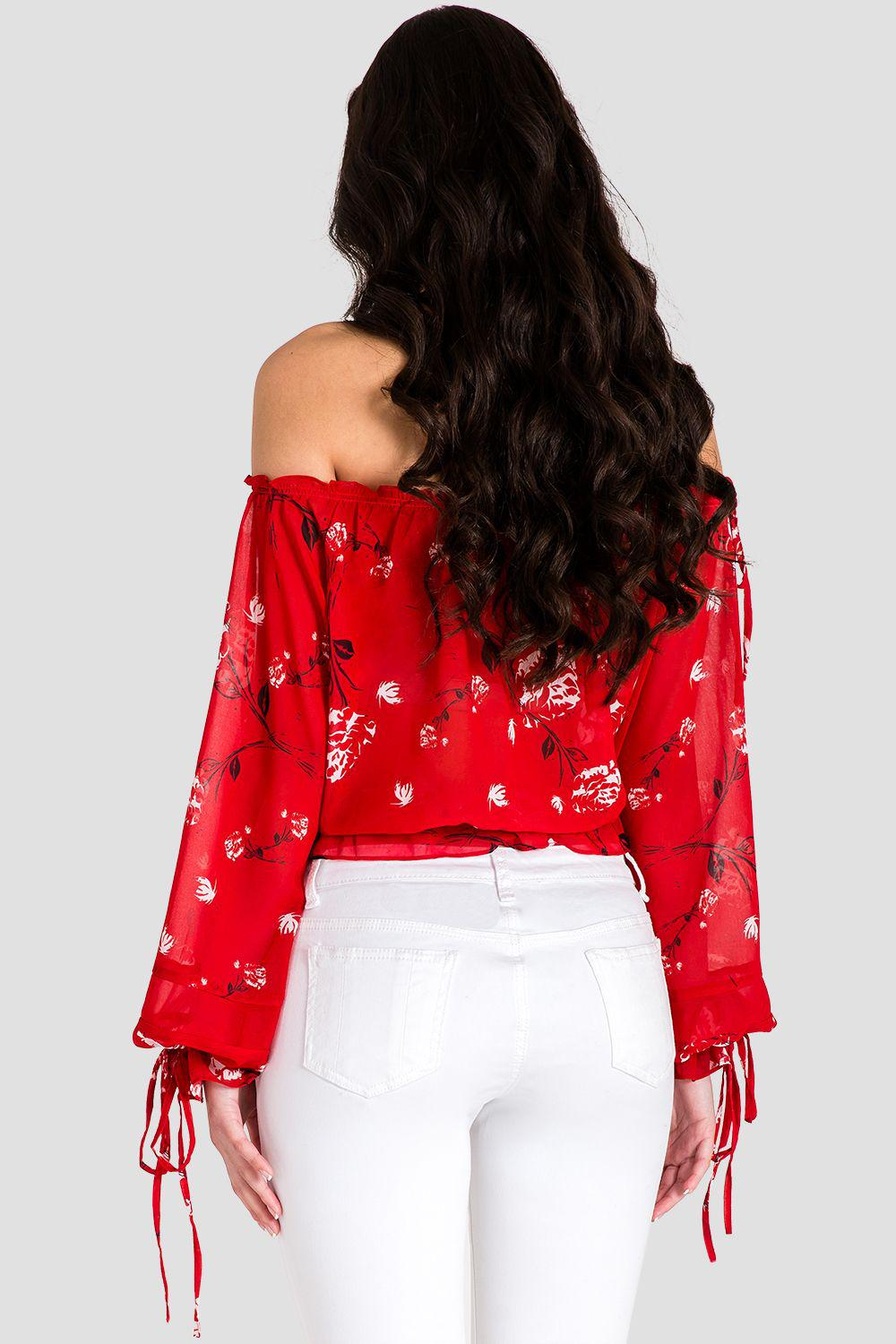 Marina Off Shoulder Tie Sleeve Red Blouse 1
