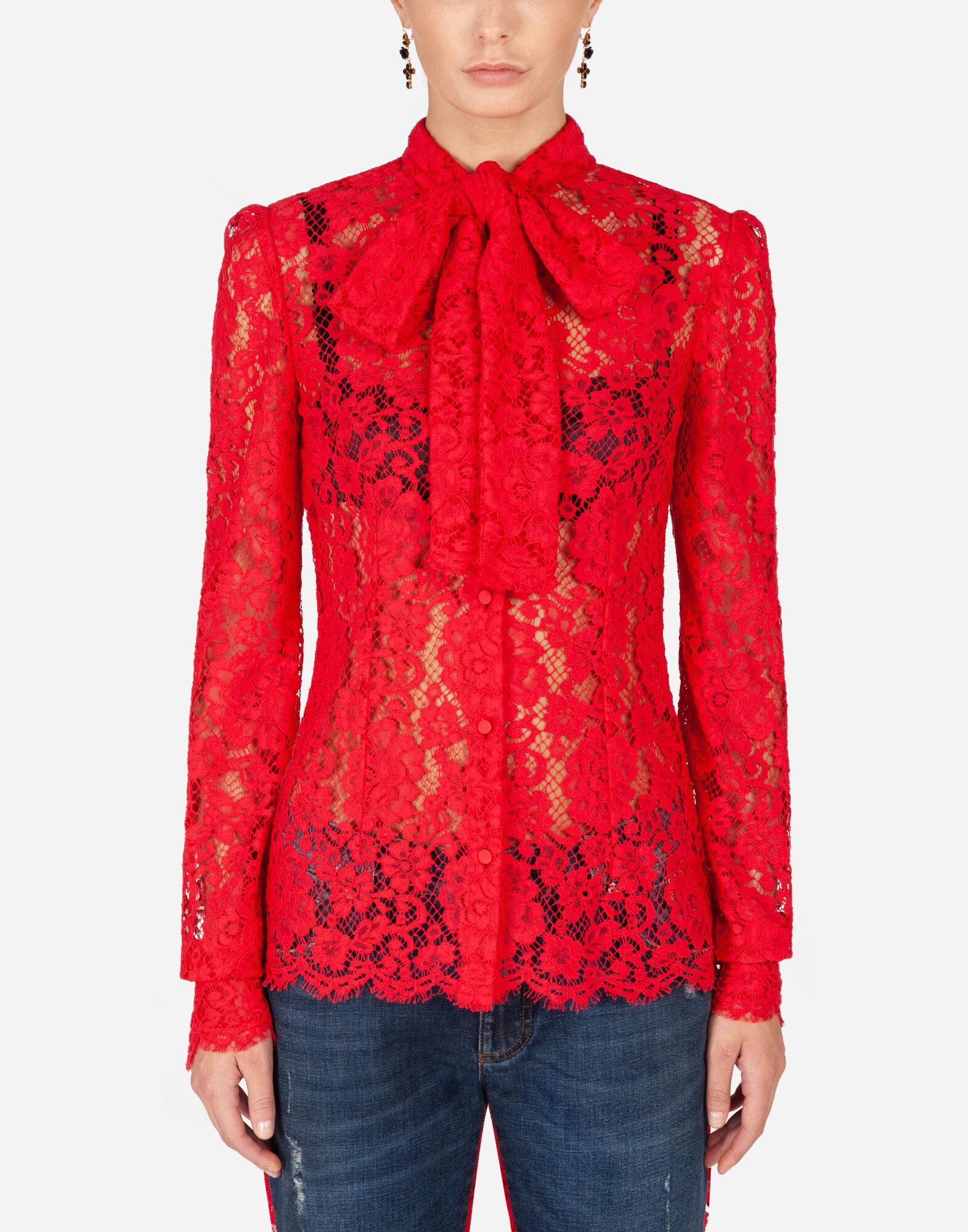 Lace shirt with pussy bow