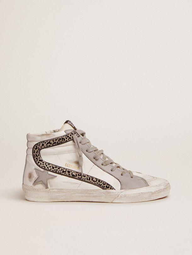 Slide sneakers with white and gray leather upper and leopard-print suede flash