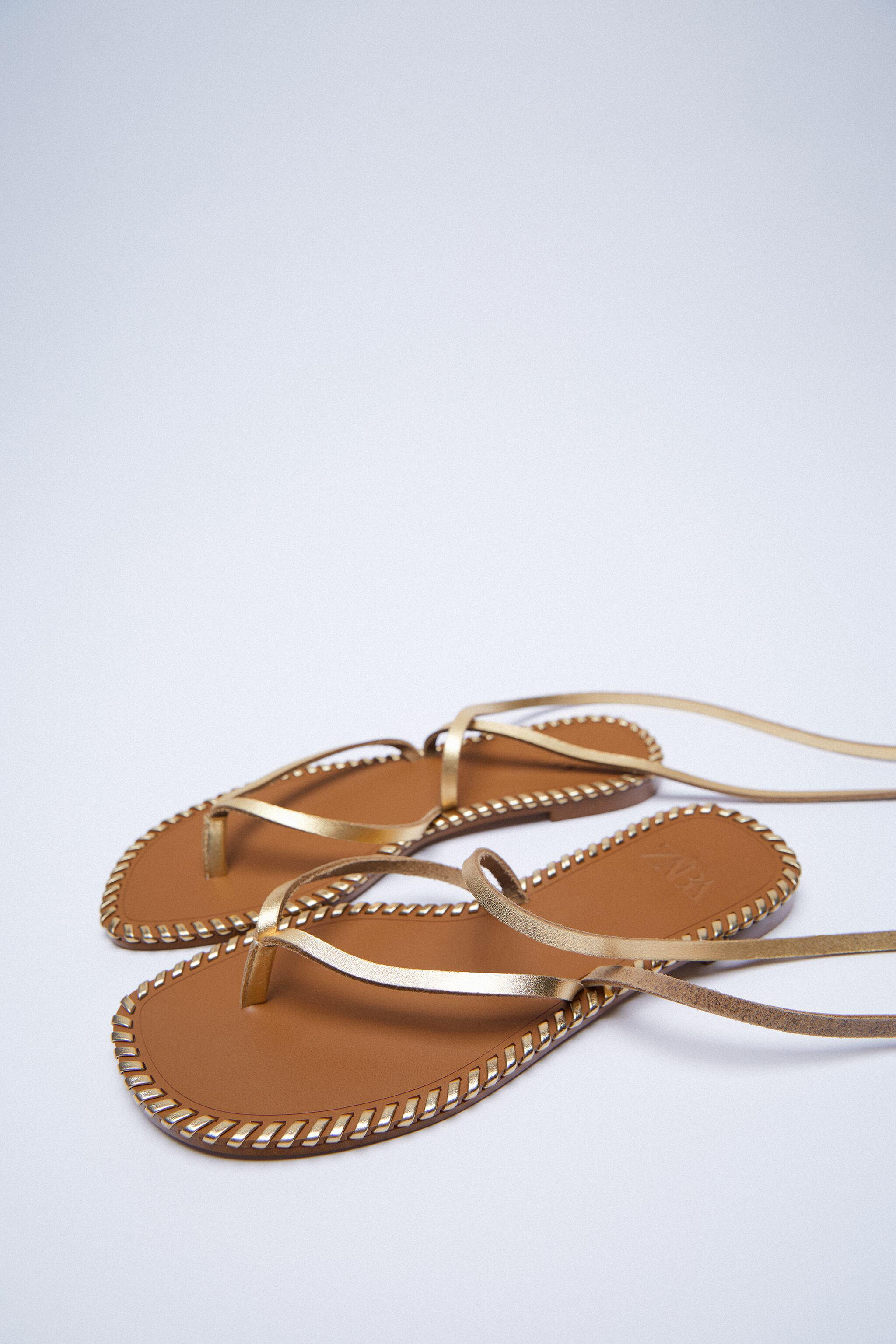 TOPSTITCHED LOW HEEL LEATHER SANDALS WITH ANKLE TIE 8