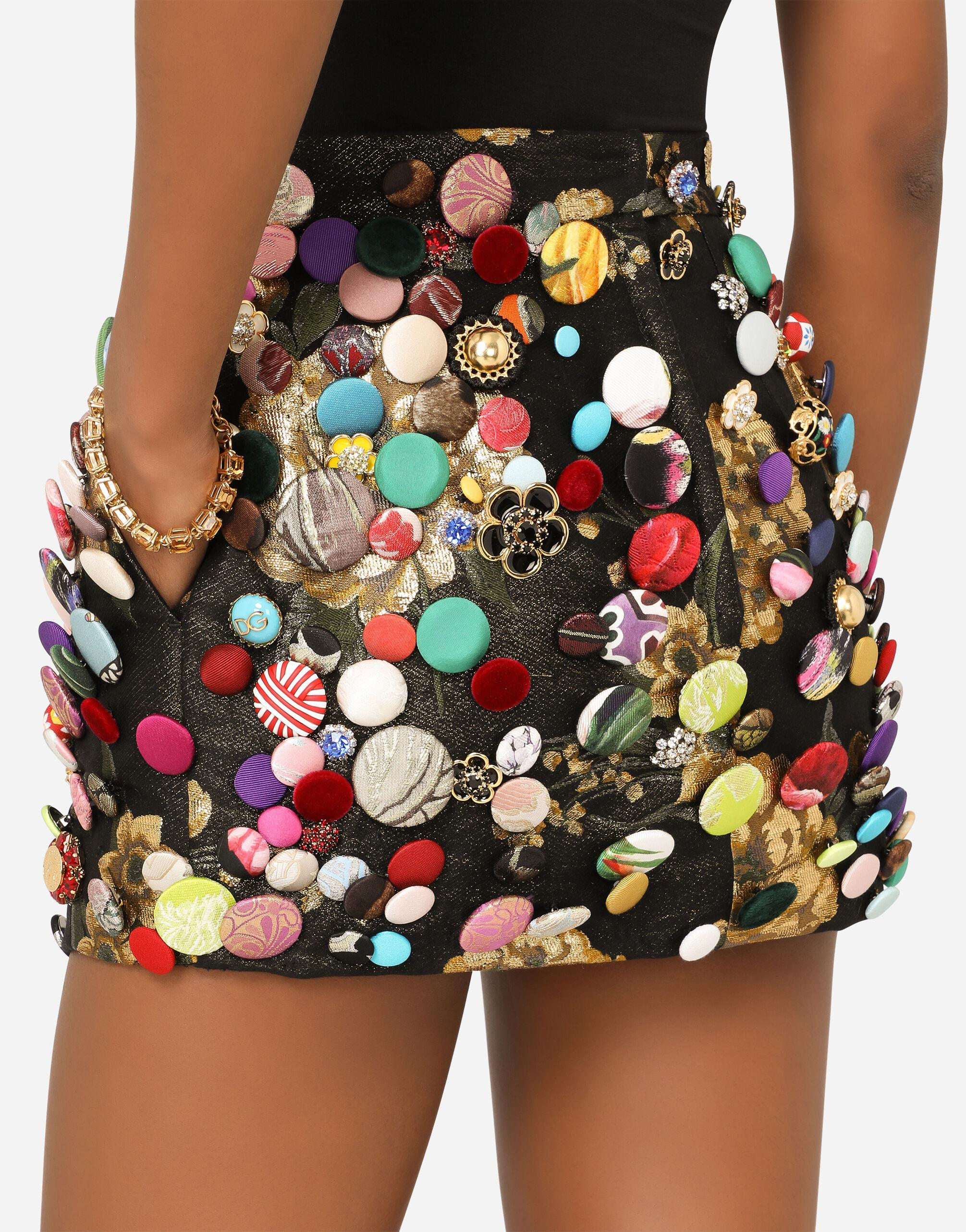 Jacquard miniskirt with all-over bejeweled buttons 3