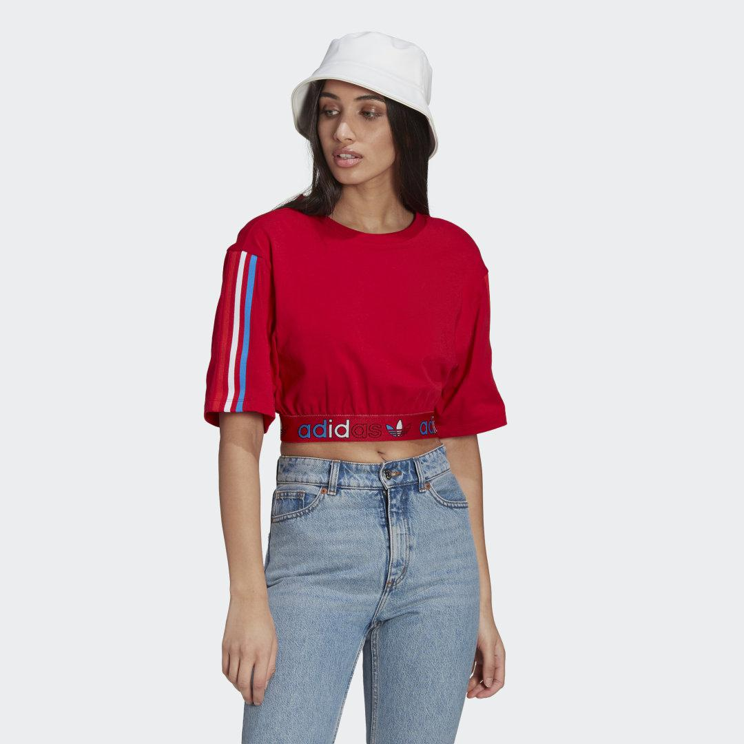 Adicolor Primeblue Tricolor Cropped Tee Red