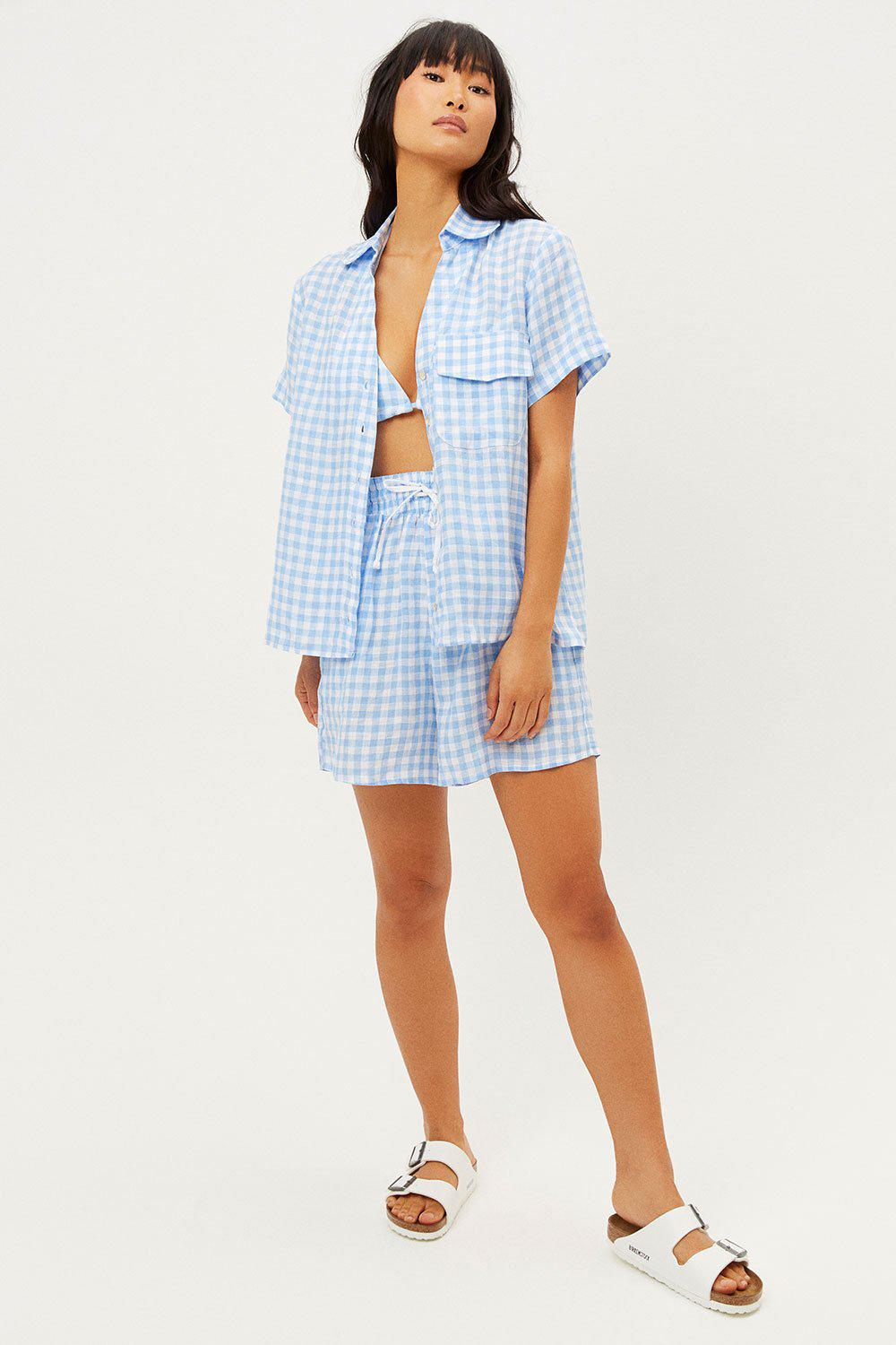 Lou Button Up Top - Bluebell