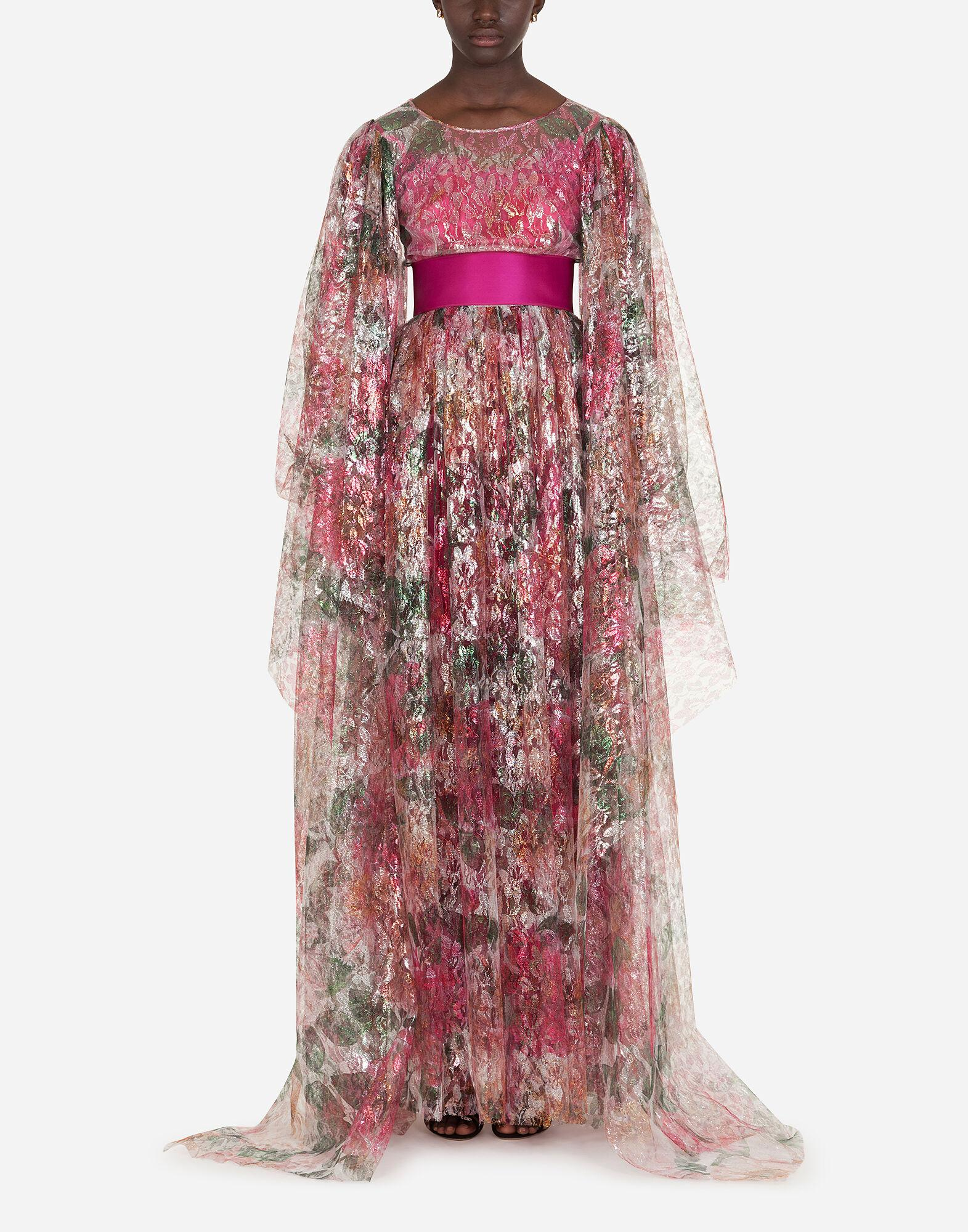 Long dress in lamé lace in camellia print