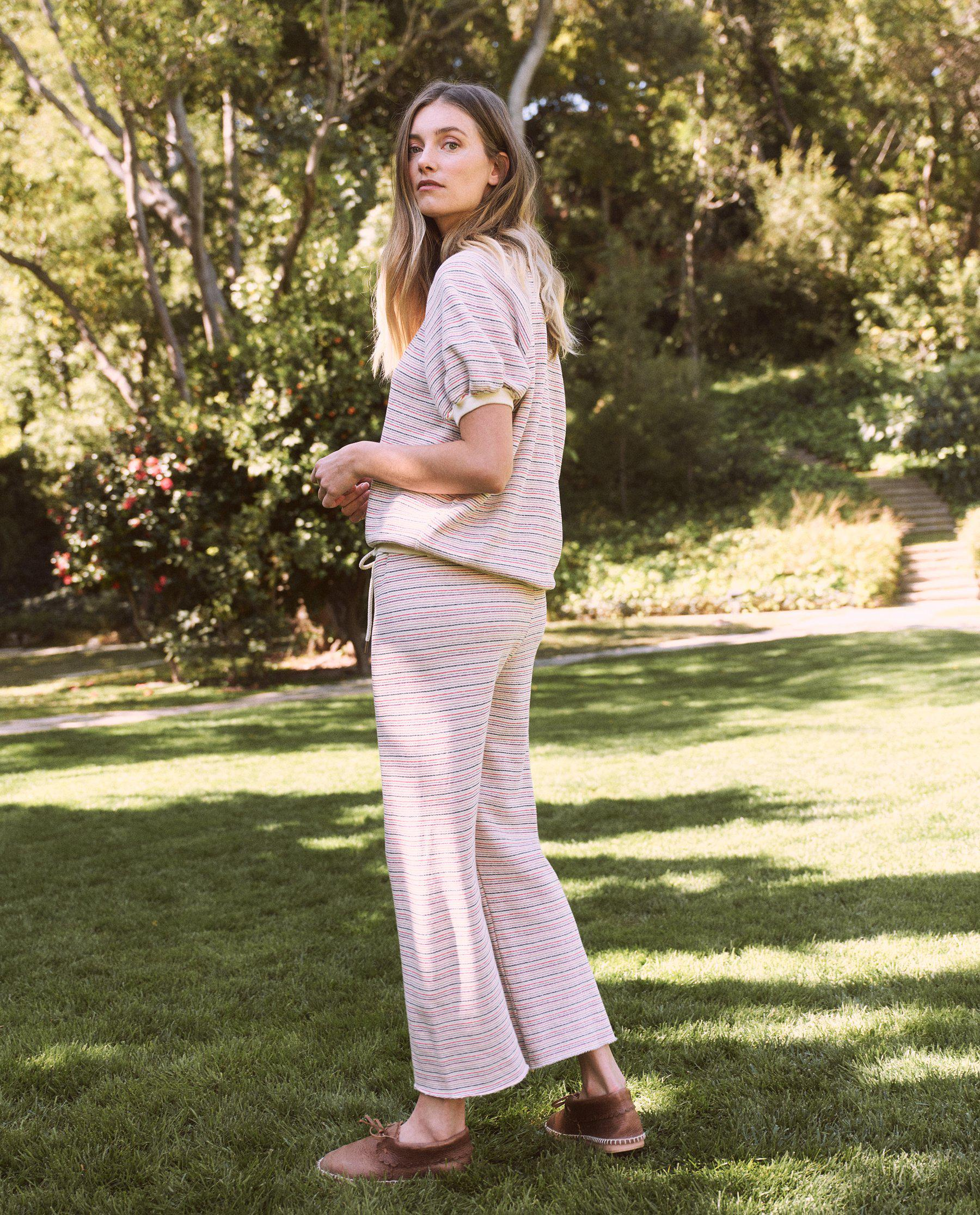 The Wide Leg Cropped Sweatpant. -- Washed White Colorful Stripe 1