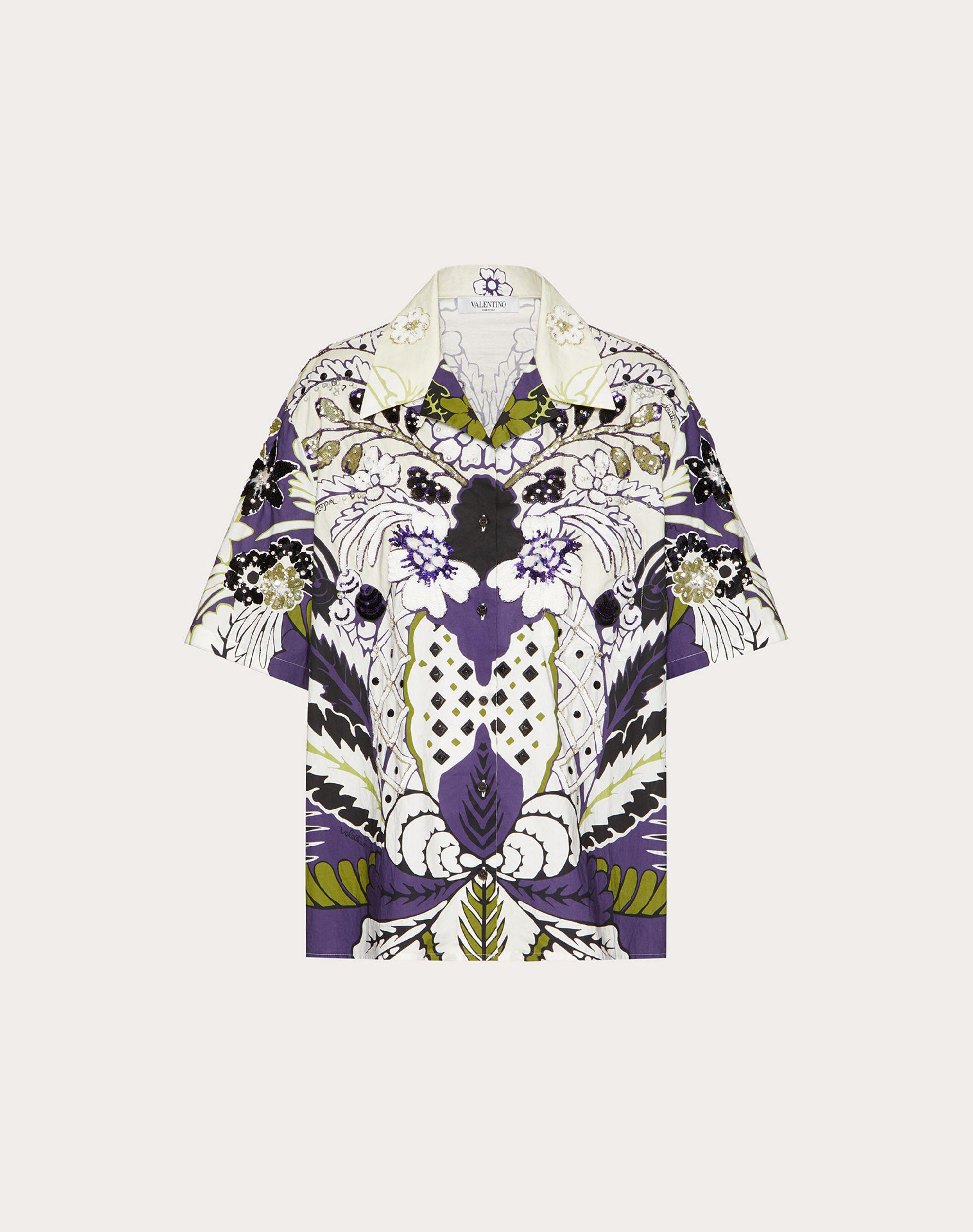 PRINTED AND EMBROIDERED POPLIN BOWLING SHIRT 4