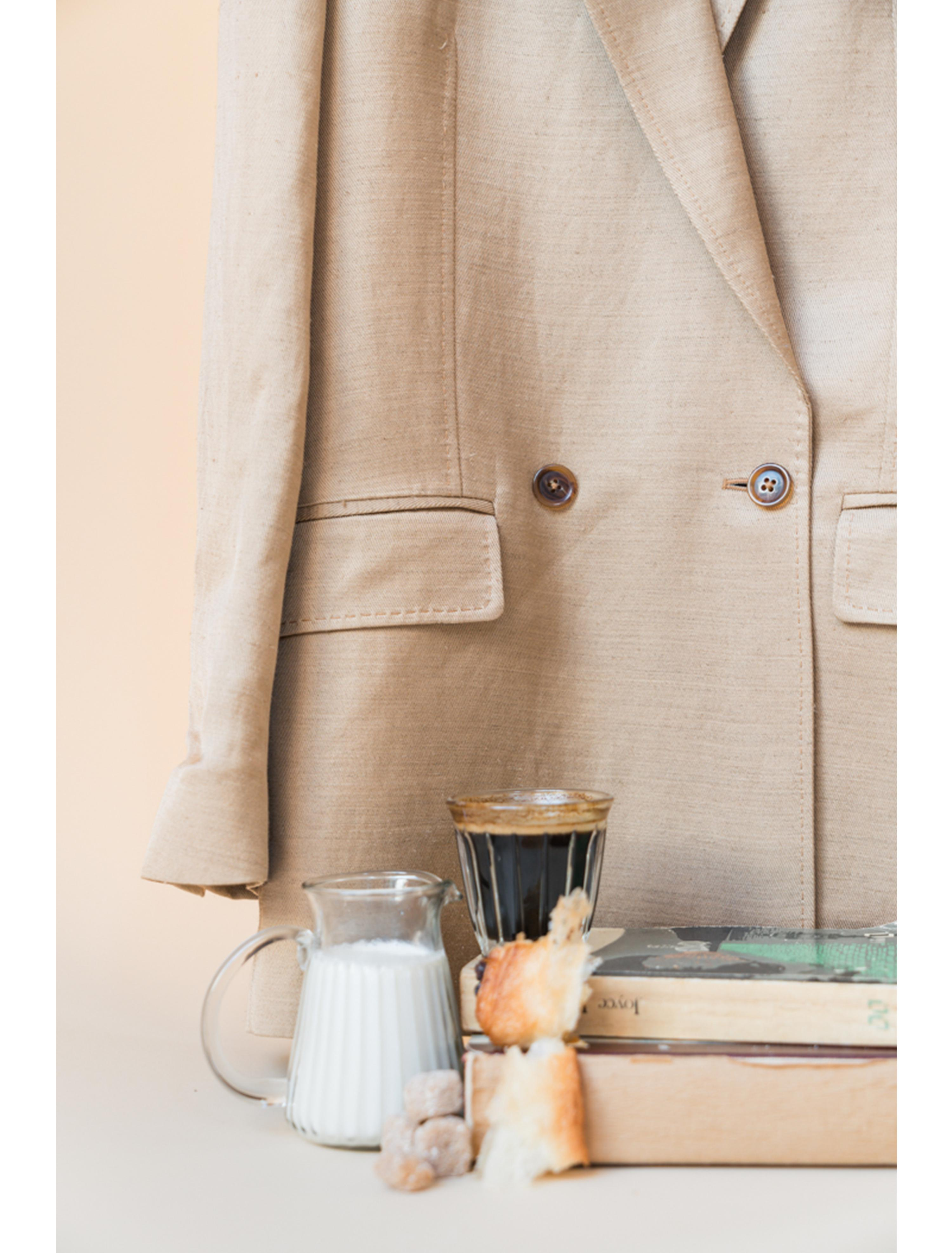 THE ALEK DOUBLE BREASTED TEXTURED LINEN VISCOSE BLAZER 3