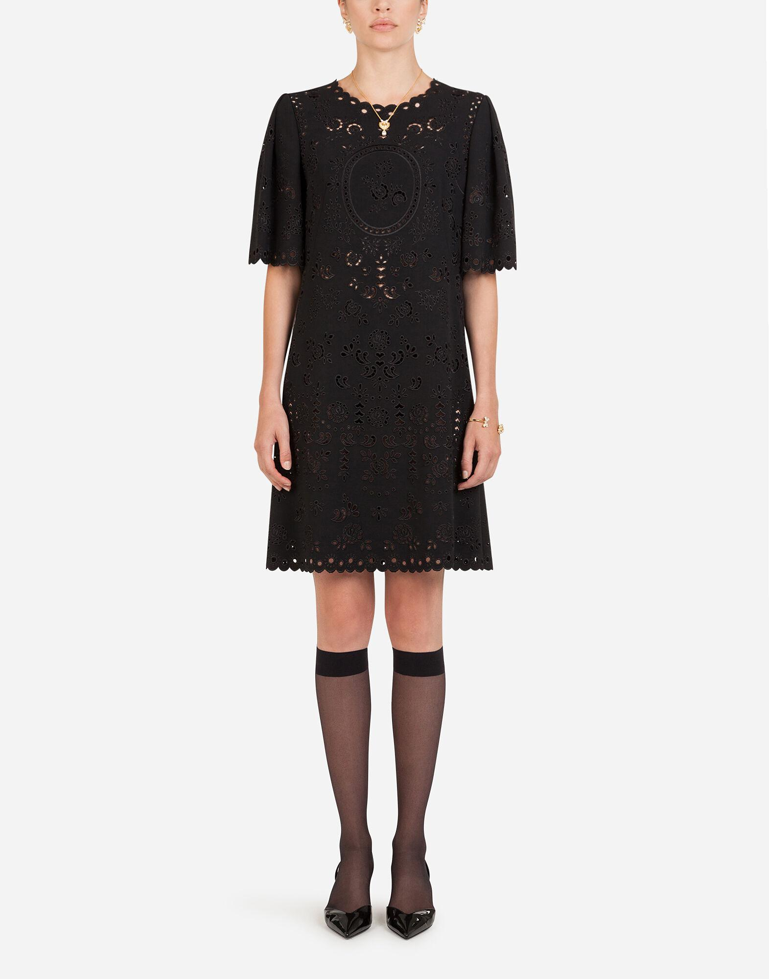 Short cady dress with cut-out detailing