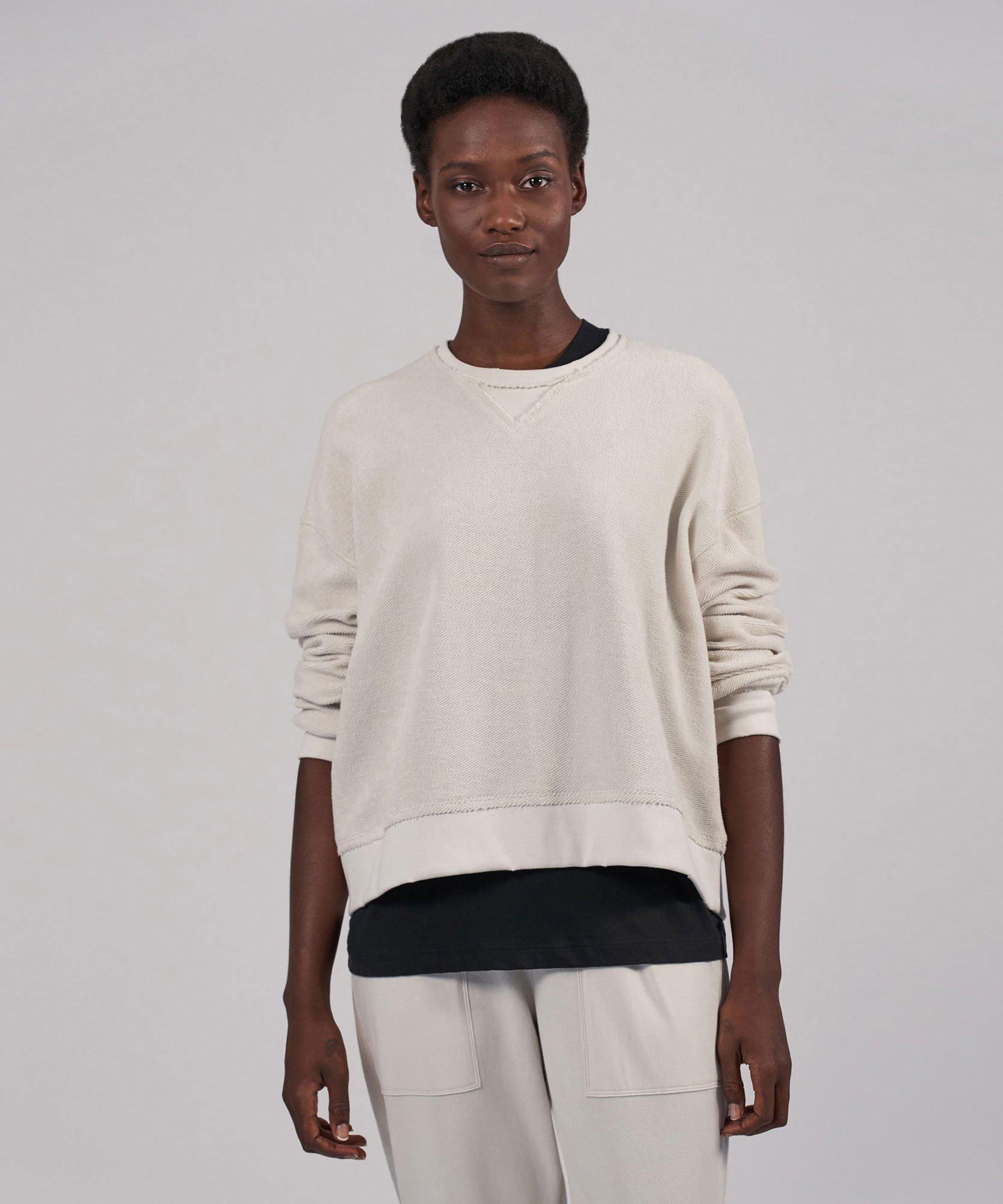 French Terry Destroyed Wash Long Sleeve Sweatshirt - Gesso