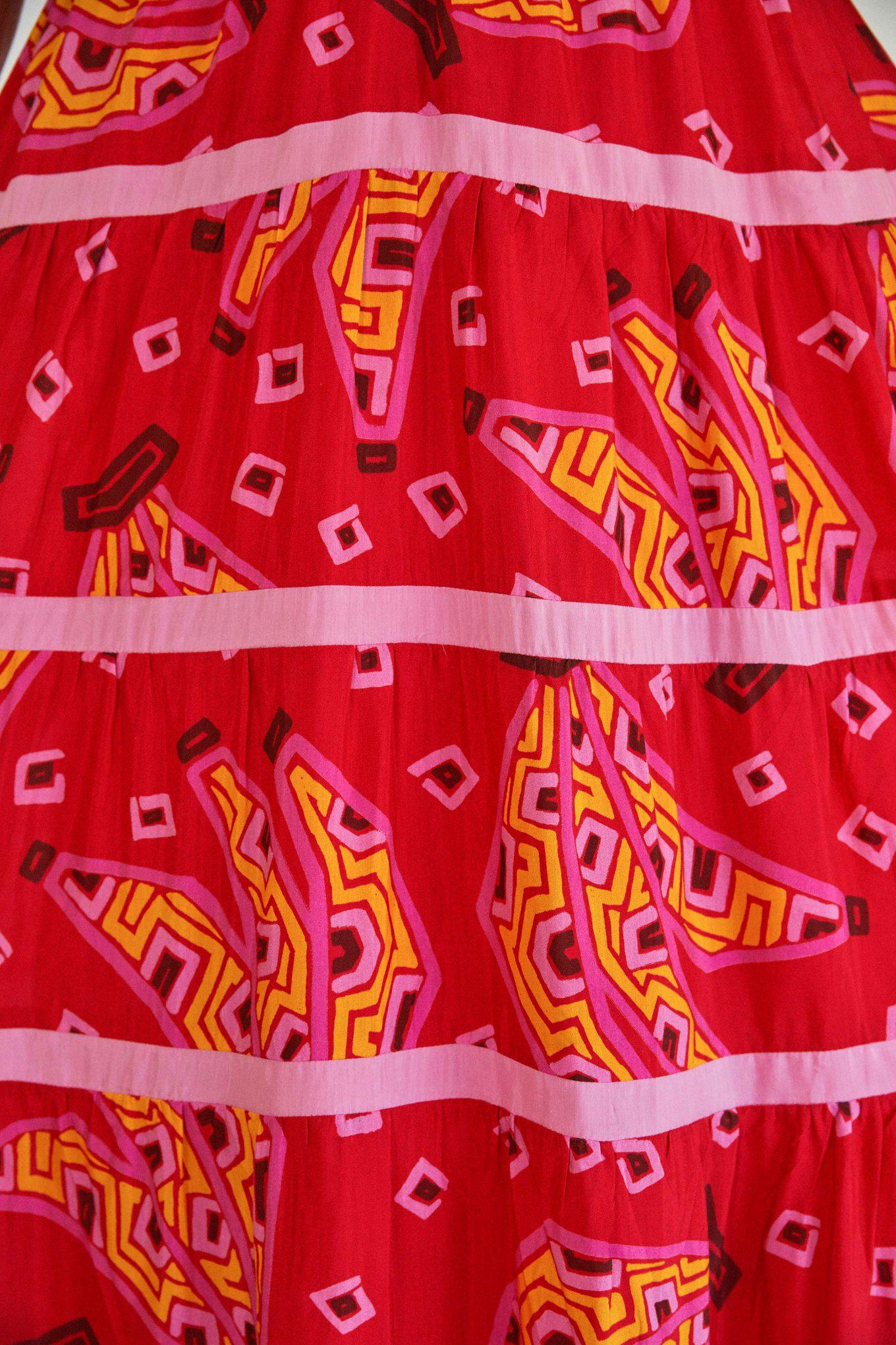 RED BANANAS MAXI TIERED DRESS 4