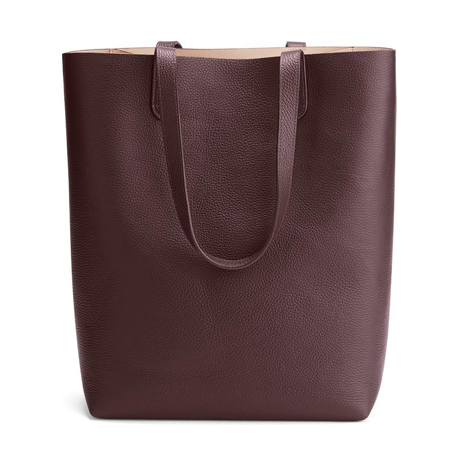 Women's Tall Structured Leather Tote Bag in Burgundy/Blush Pink | Pebbled Leather by Cuyana