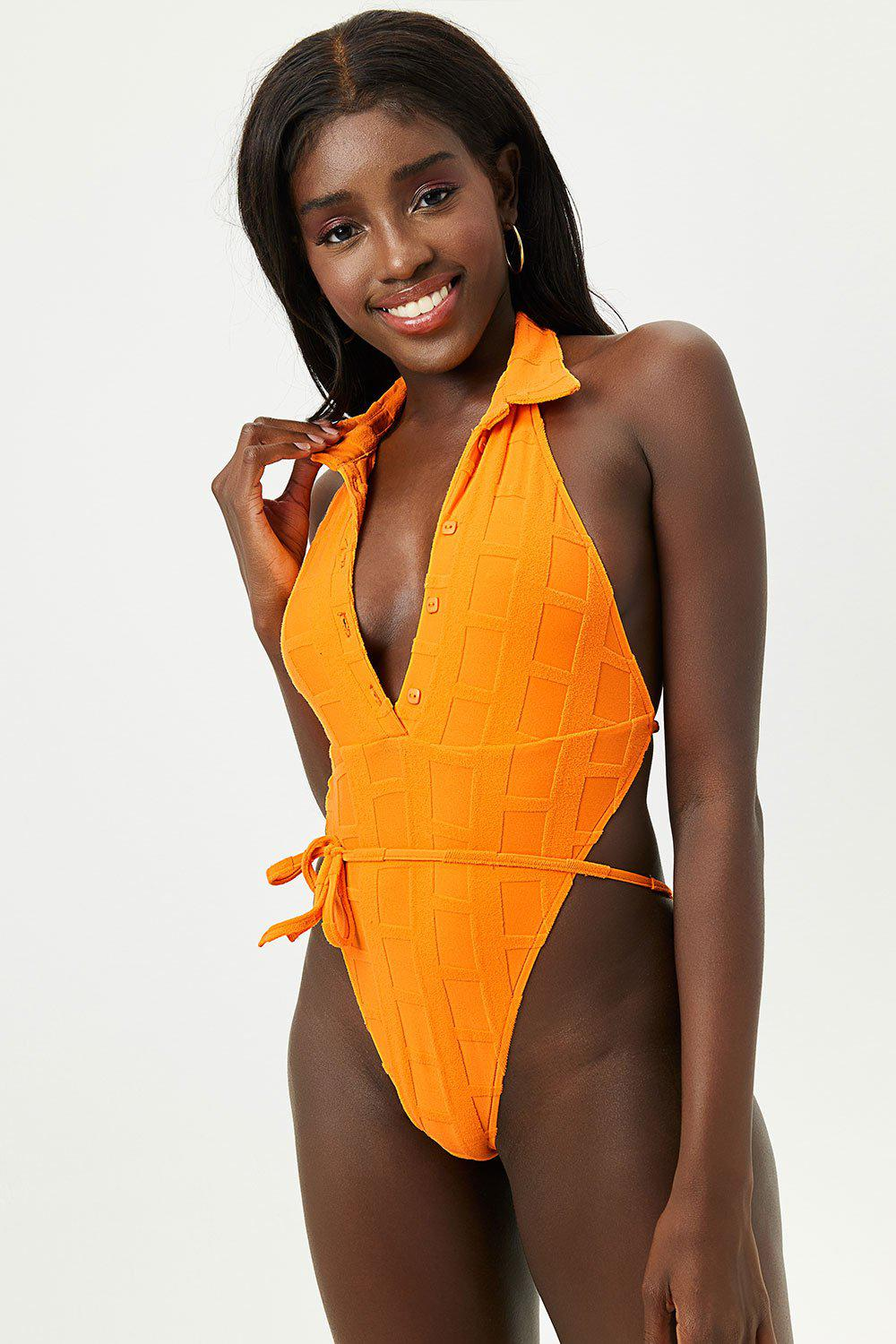 Osaka Terry One Piece Swimsuit - Checkmate