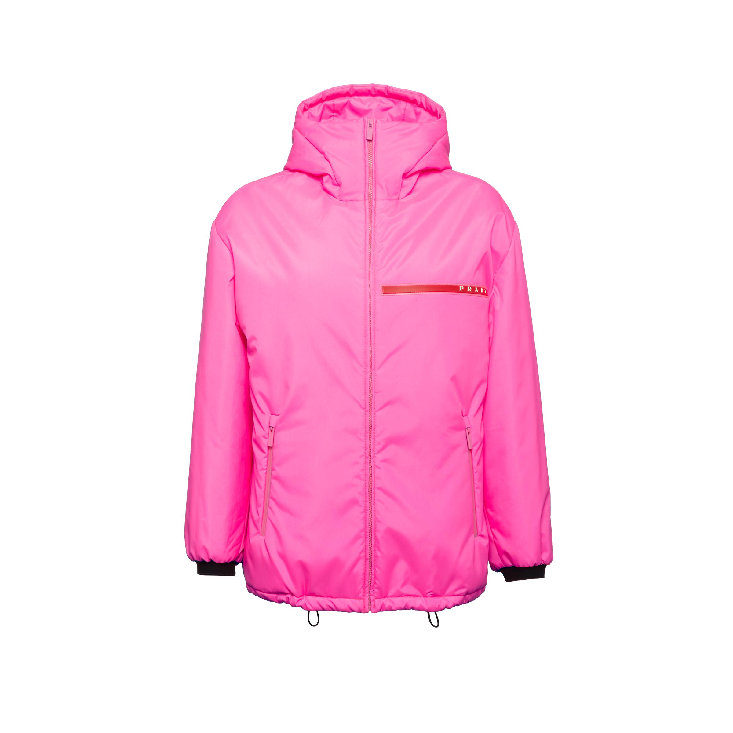 Padded Technical Fabric Hooded Jacket Women Fluo Pink