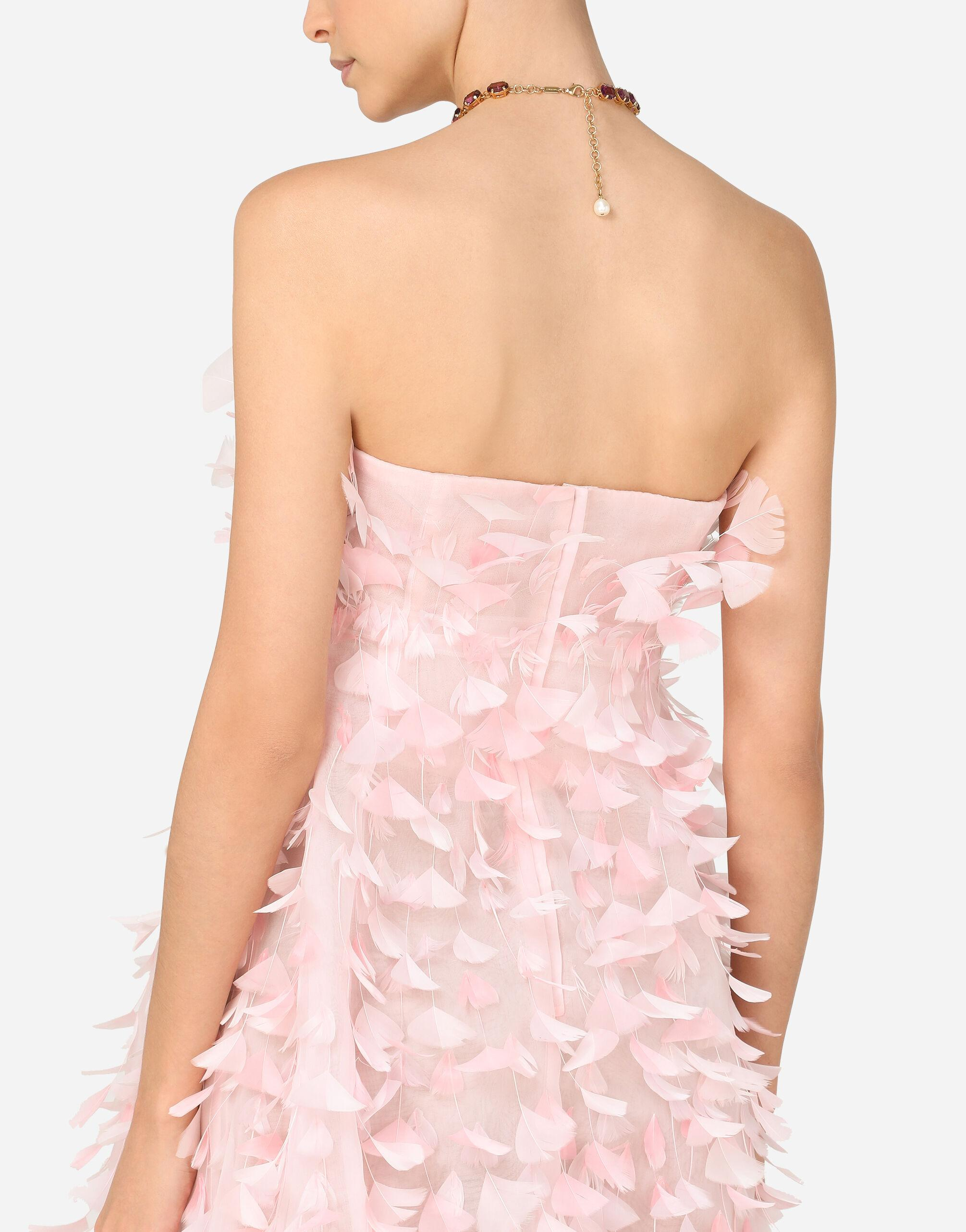 Short organza dress with feather embellishment 3