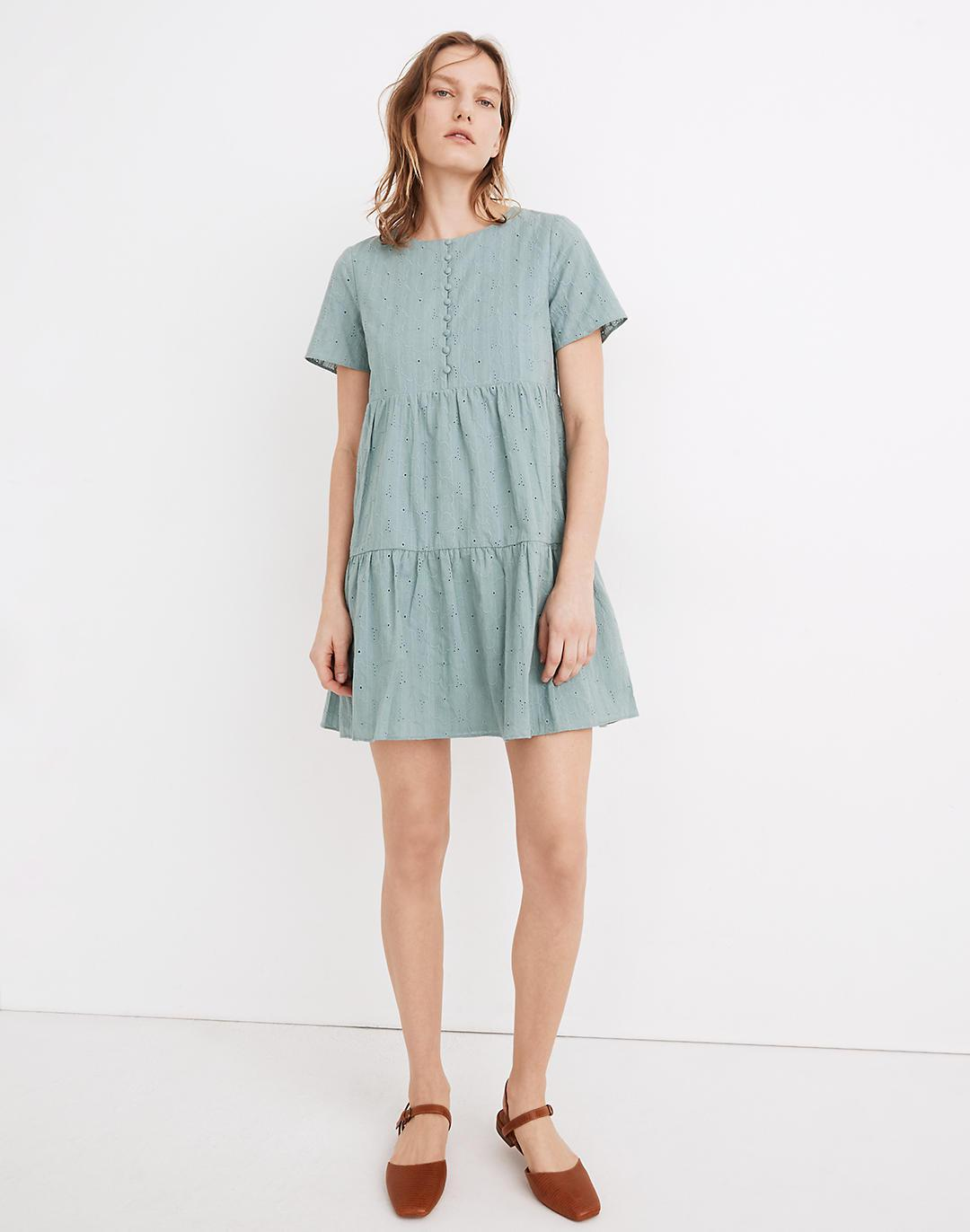 Embroidered Eyelet Button-Front Tiered Mini Dress
