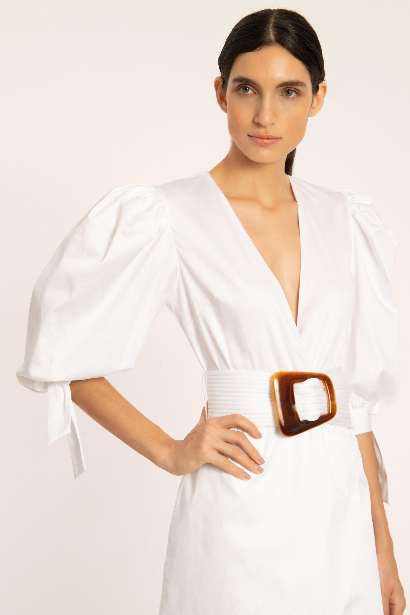 Solid Puff-sleeved Short Dress With Belt 1
