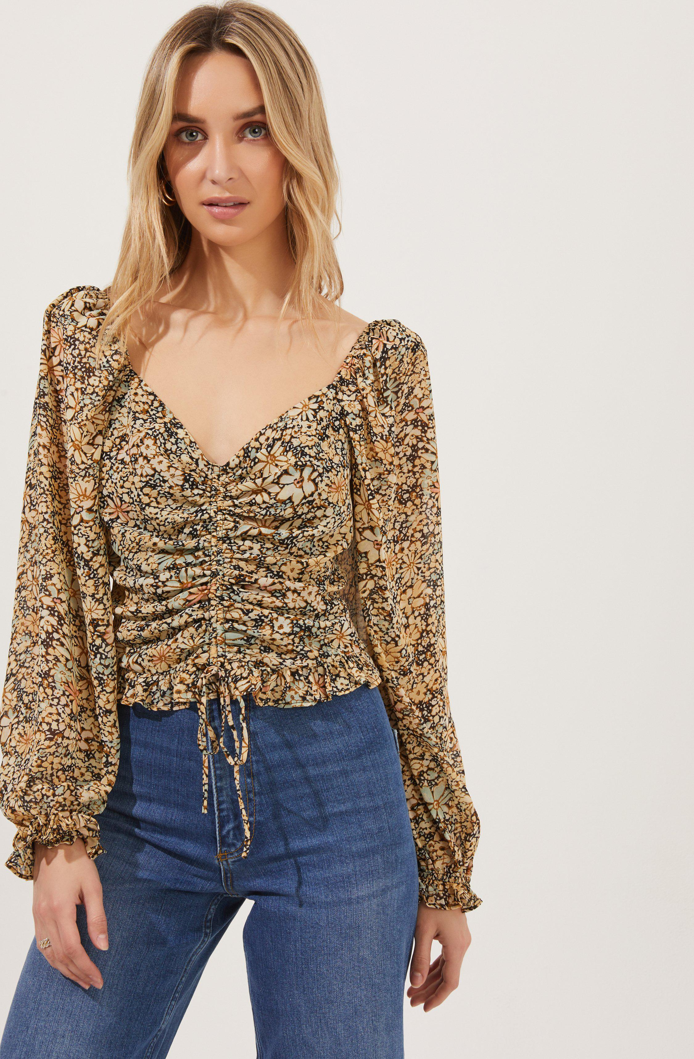 Love Song Floral Ruched Frill Puff Sleeve Top