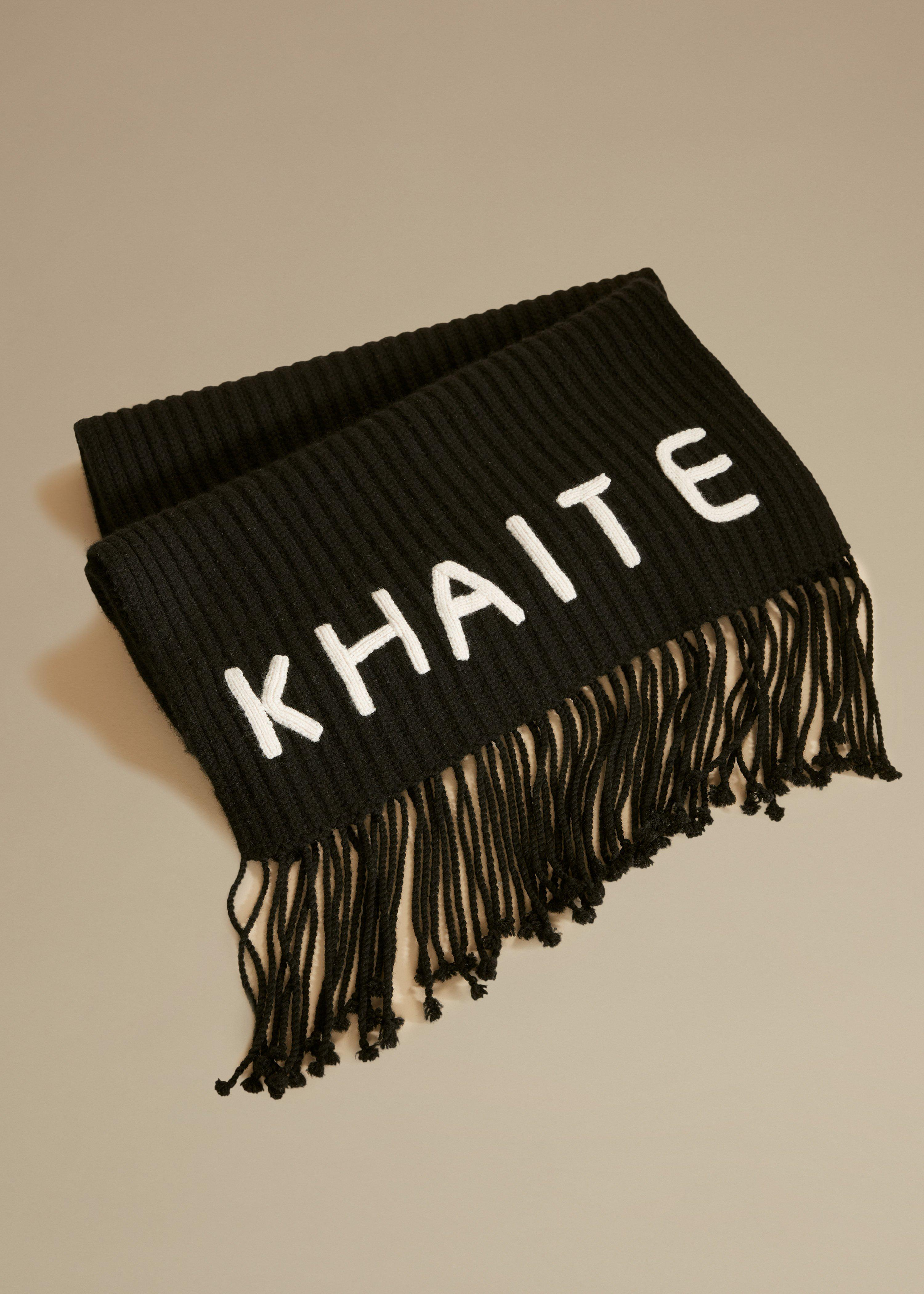 The Logo Scarf in Black and Cream