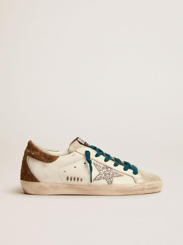 Super-Star sneakers with silver glitter star and leopard-print suede heel tab
