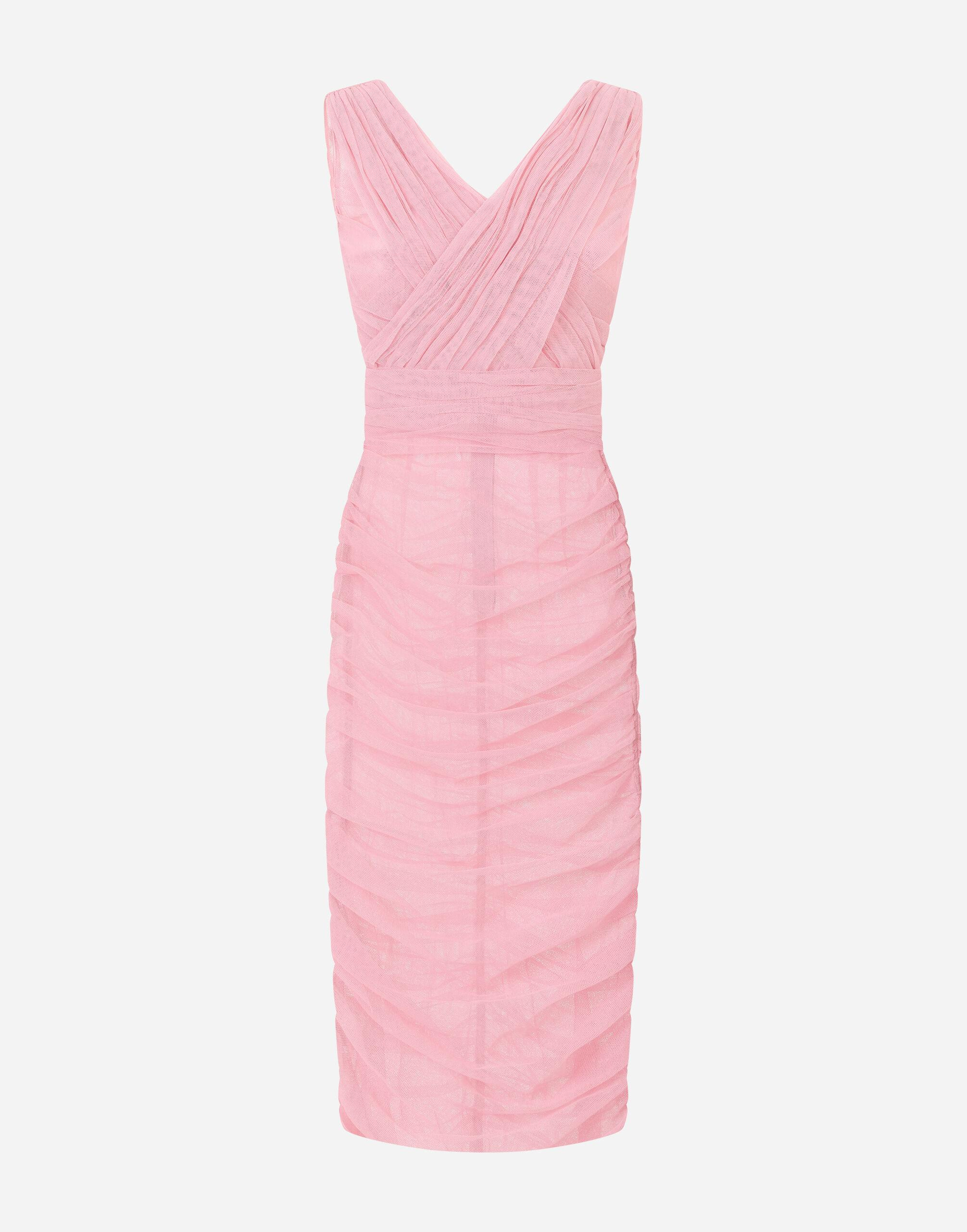 Calf-length draped dress in stretch tulle 5