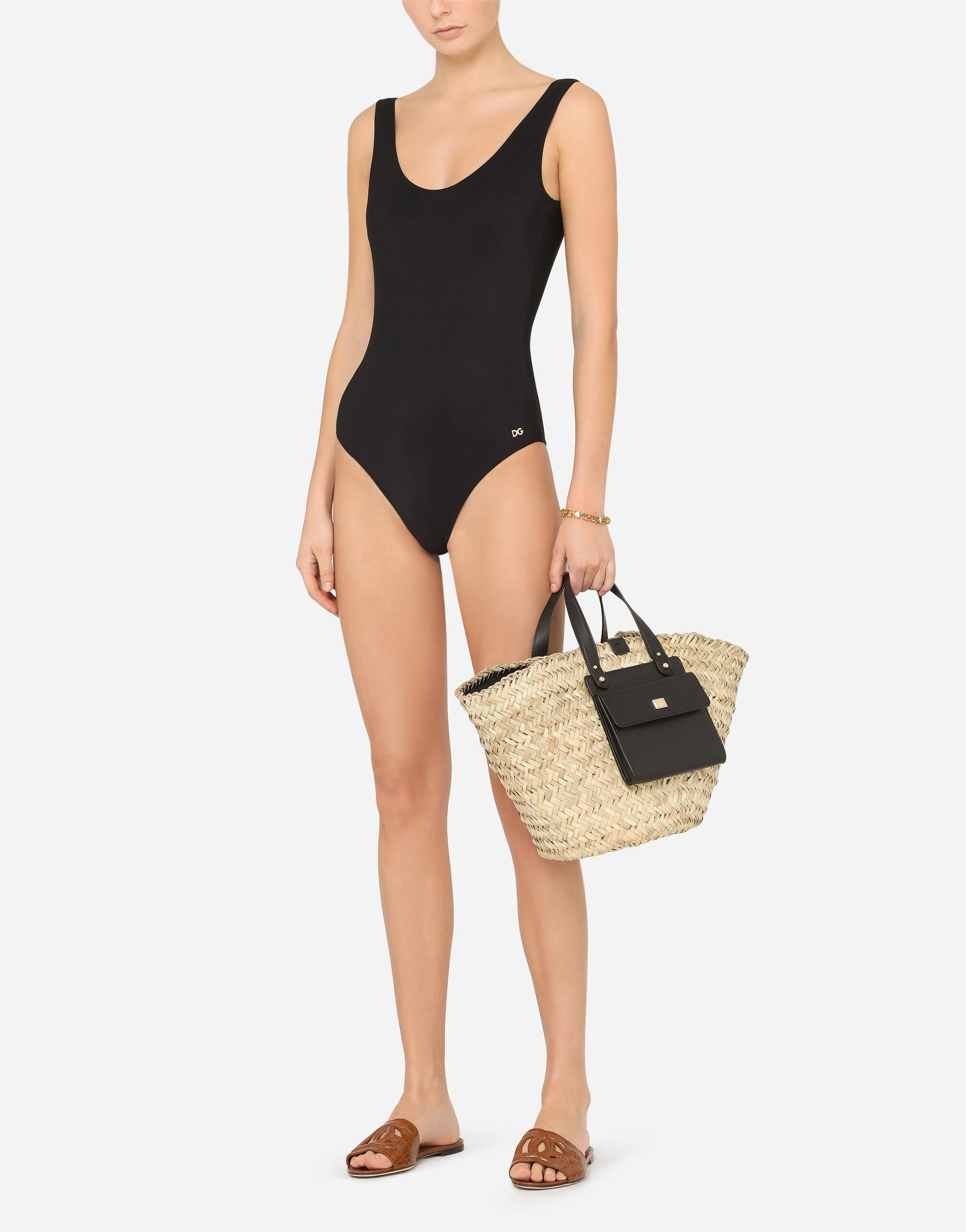 Racer-style one-piece swimsuit