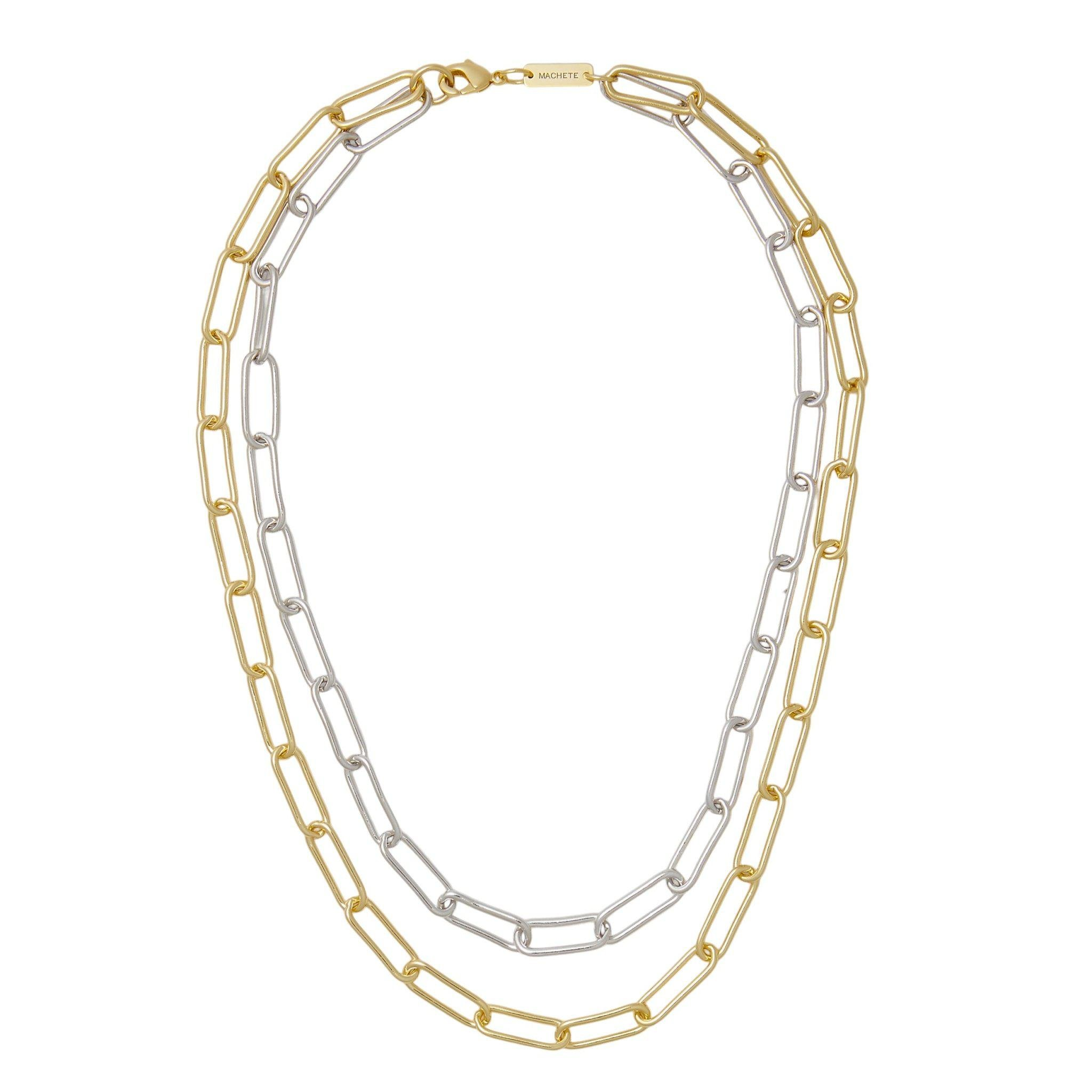 Paperclip Chain Layered Necklace in Mixed Metals