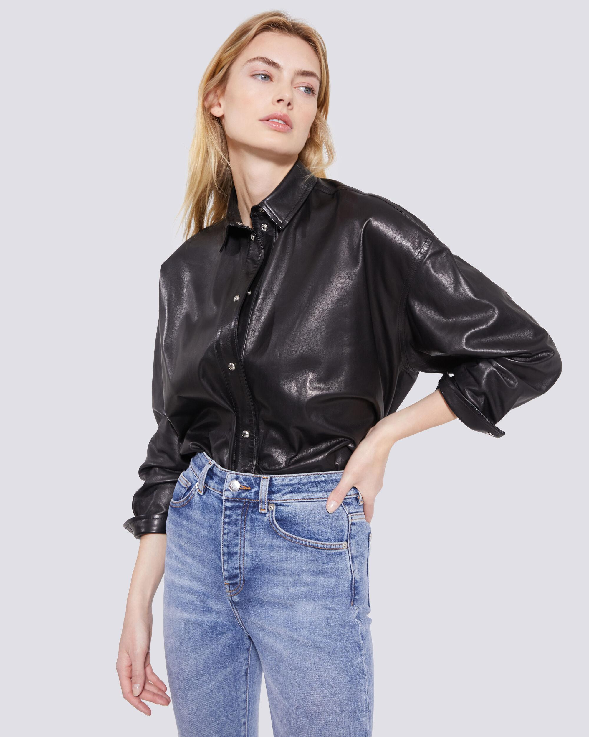 SYSTEM LEATHER BUTTON UP SHIRT