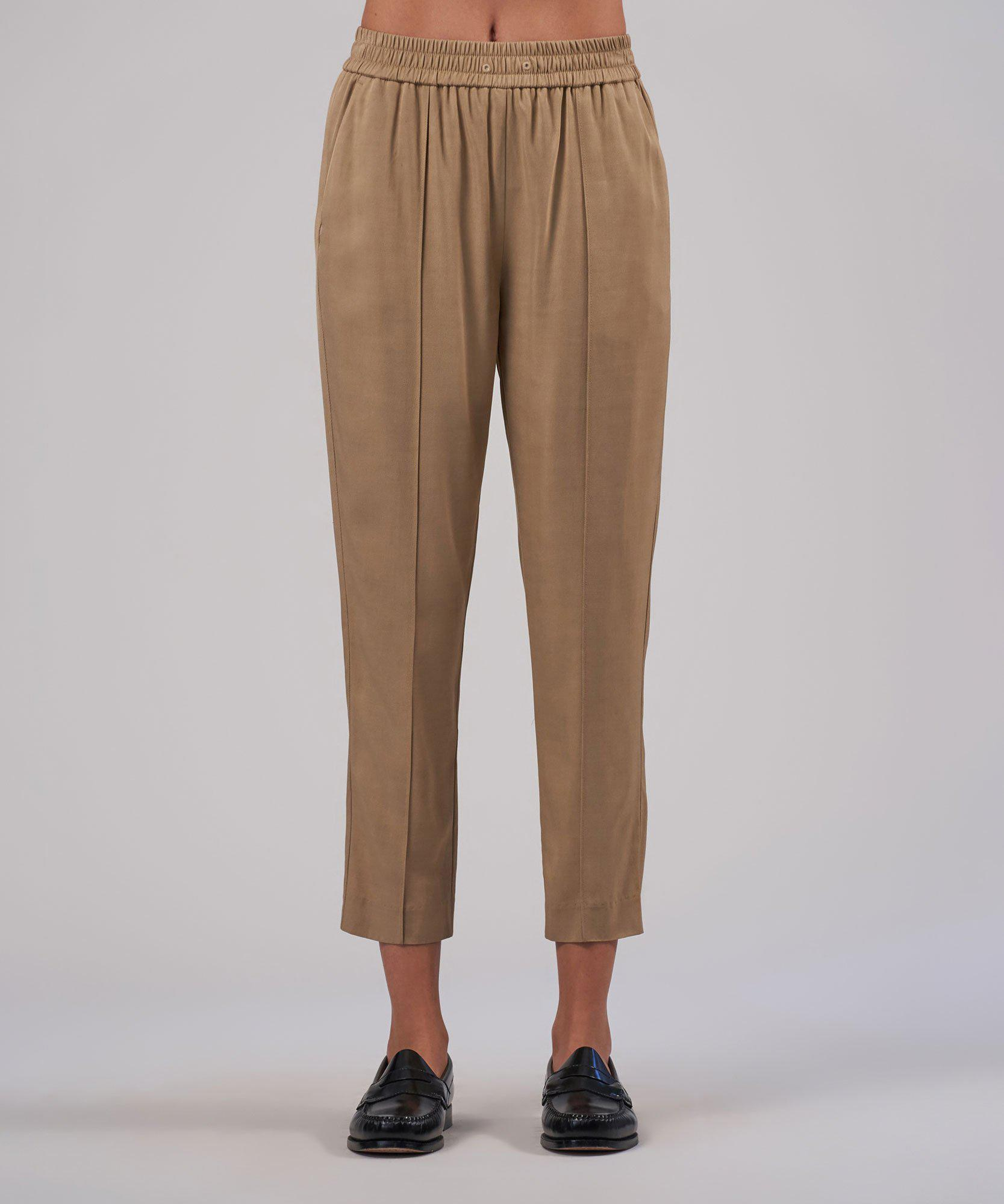 Viscose Twill Cropped Pull-On Pant - Dune