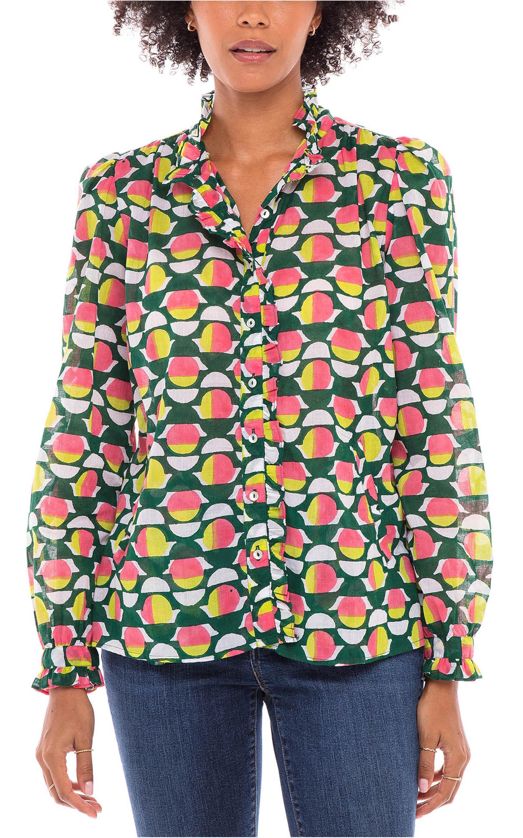 Chrissie Shirt Curlew Curve Lime Green