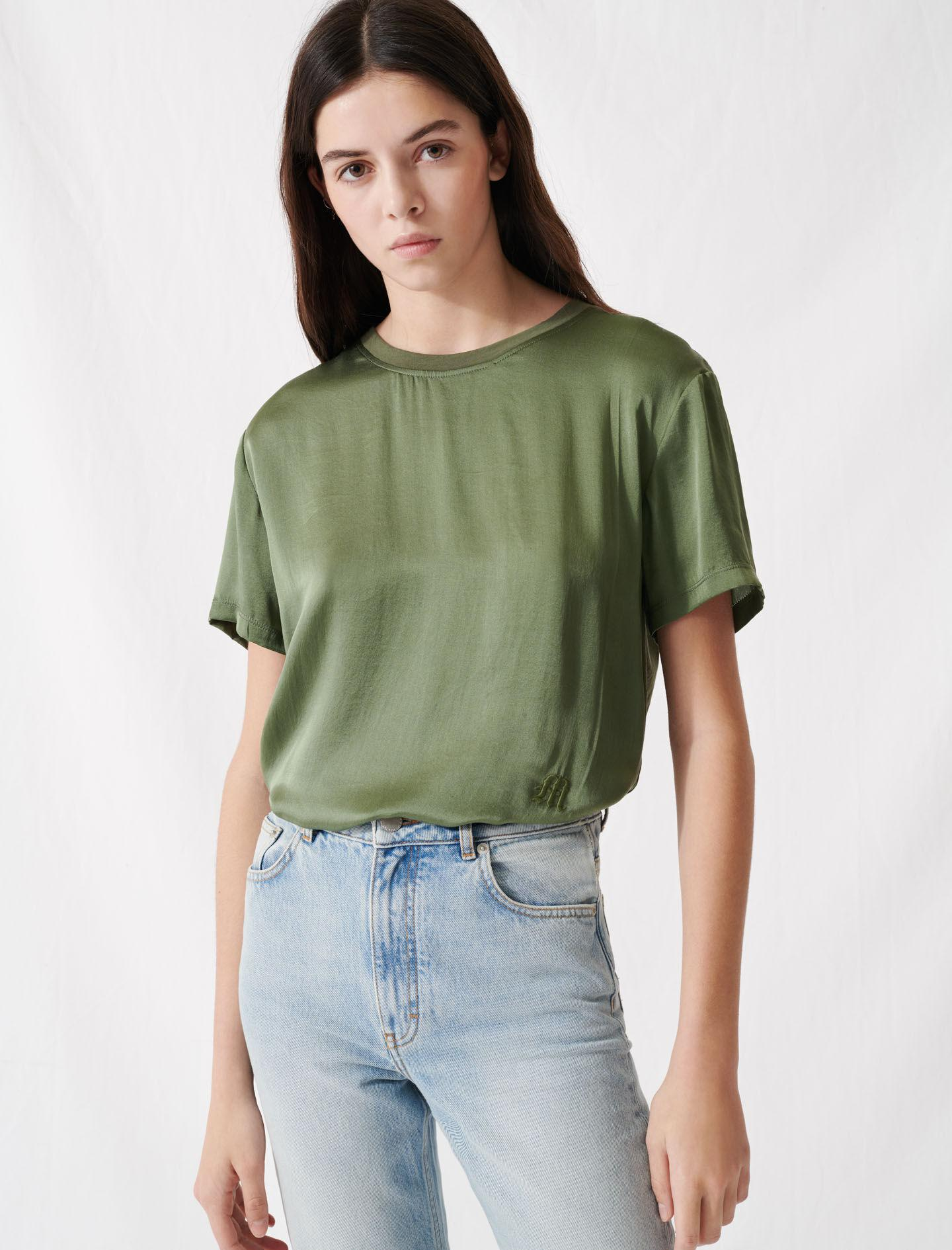 LOOSE-FITTING MATERIAL-MIX T-SHIRT