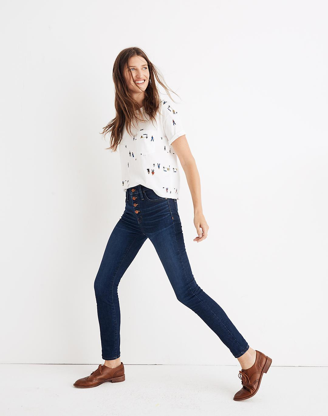 """Petite 9"""" Mid-Rise Skinny Jeans in Hayes Wash: Button-Front Edition 1"""