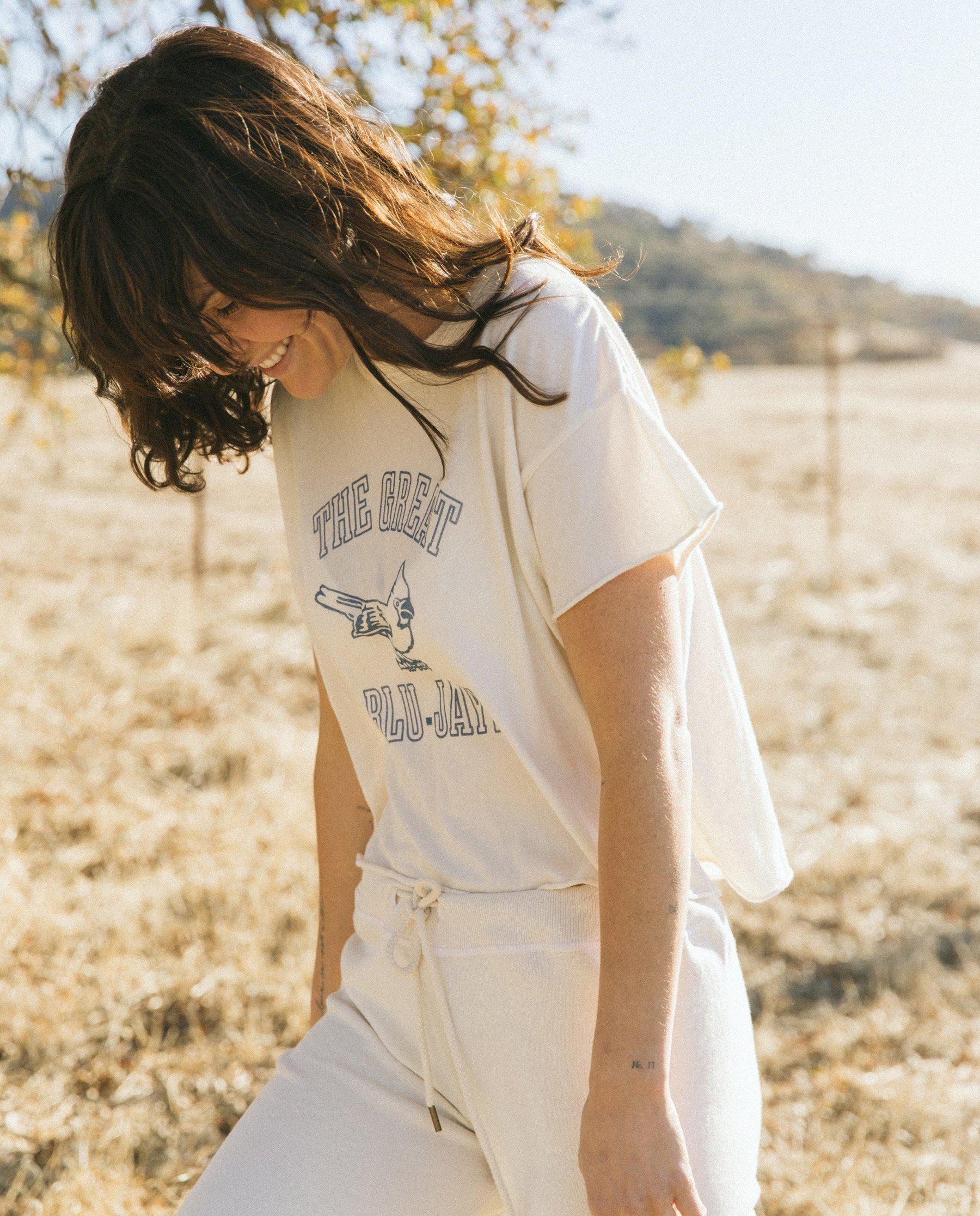 The Crop Tee. Graphic -- Washed White with Blue Jay Graphic