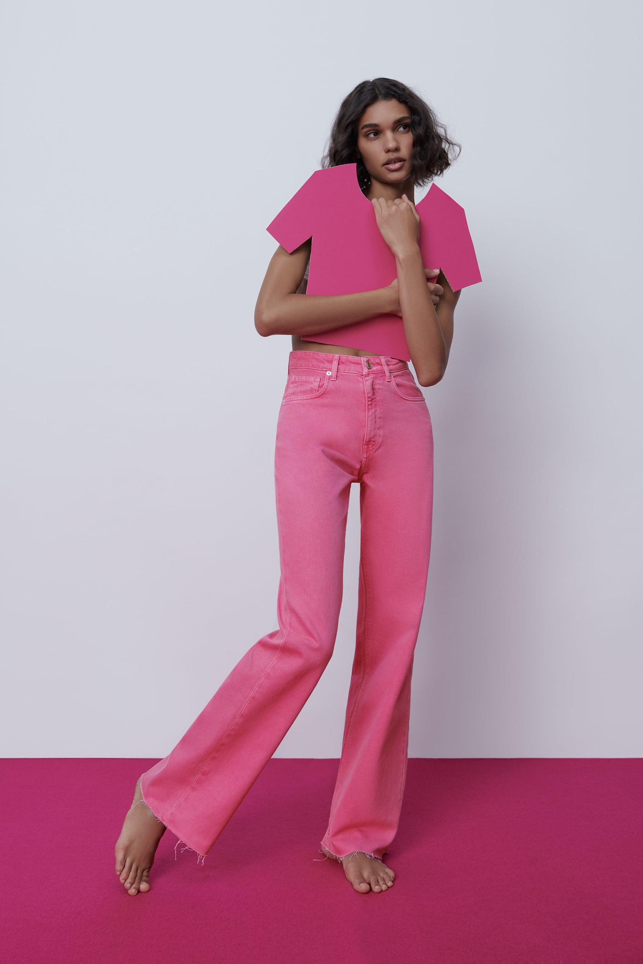 SOLID COLOR FULL LENGTH WIDE LEG JEANS