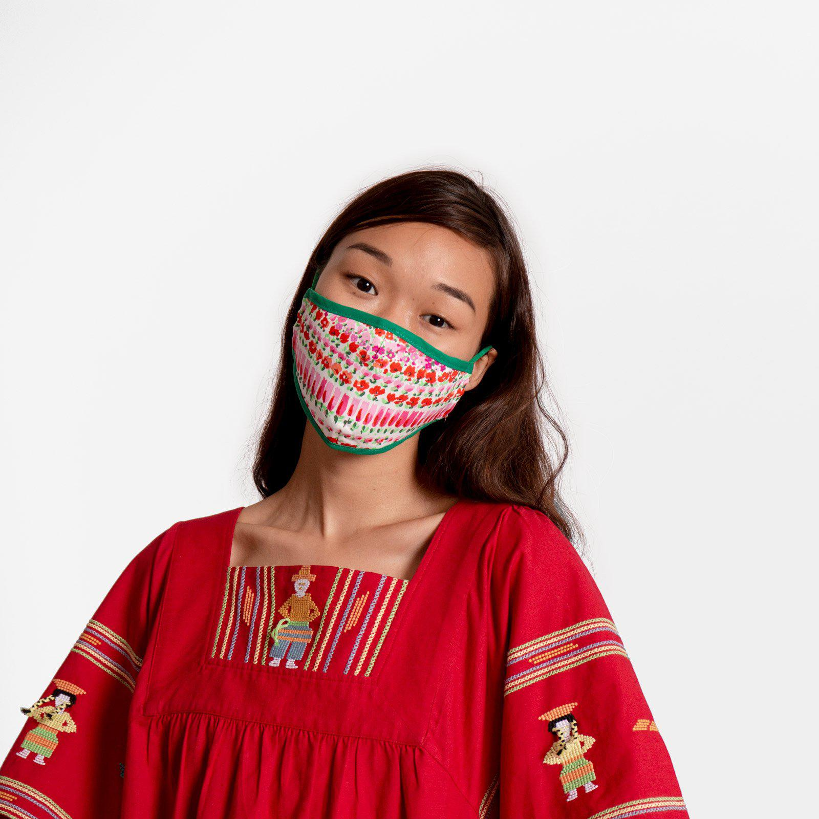 Fitted Mask Flowerfields Print 1