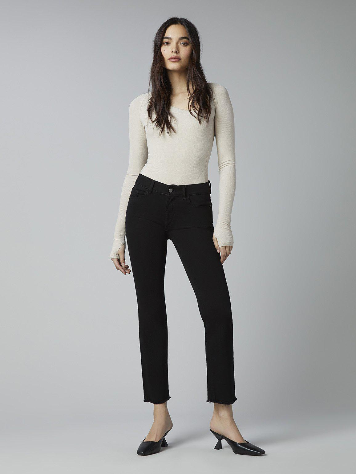 Mara Straight Mid Rise Instasculpt Ankle | Black Peached Raw