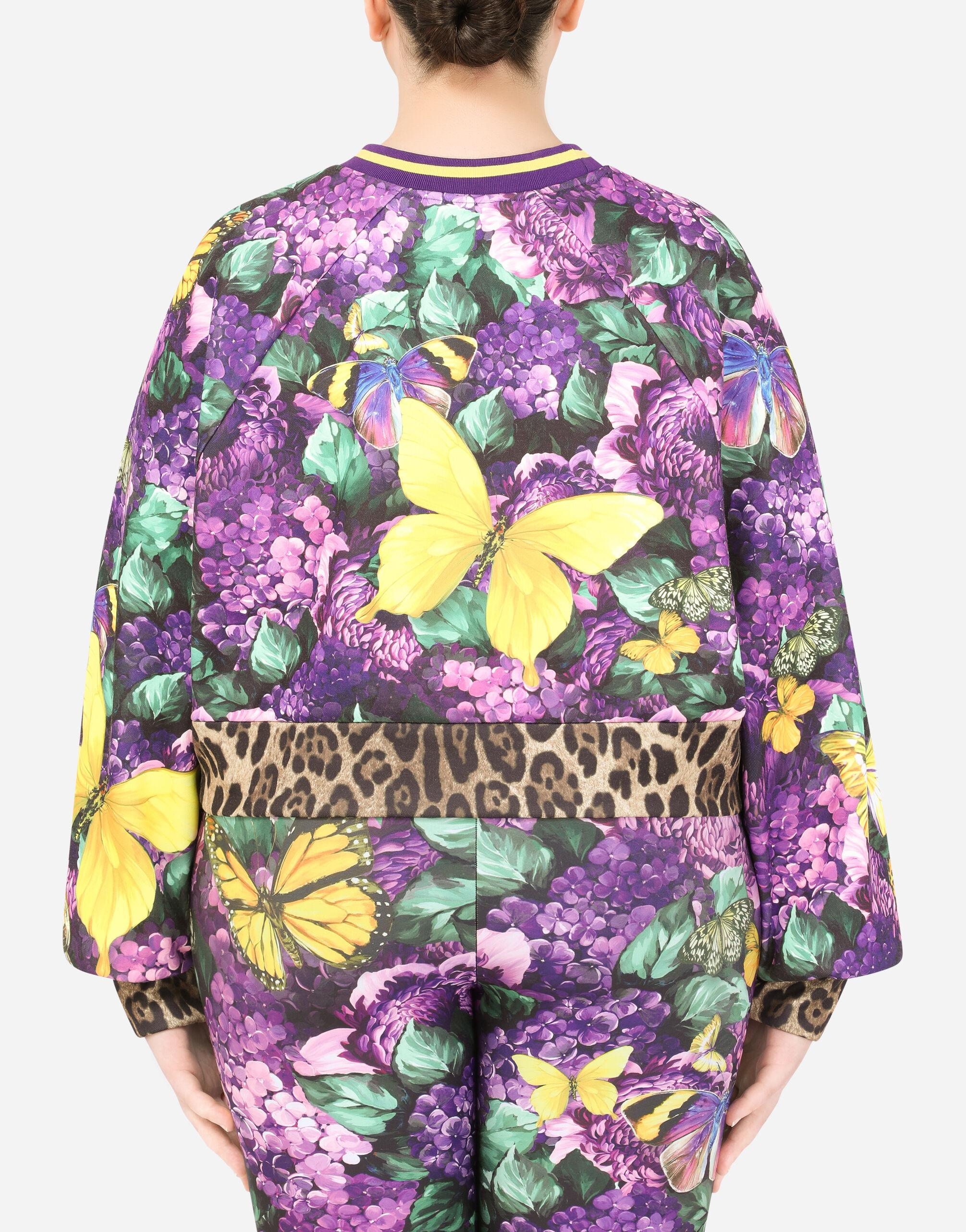 Round-neck jersey sweatshirt with butterfly print 4