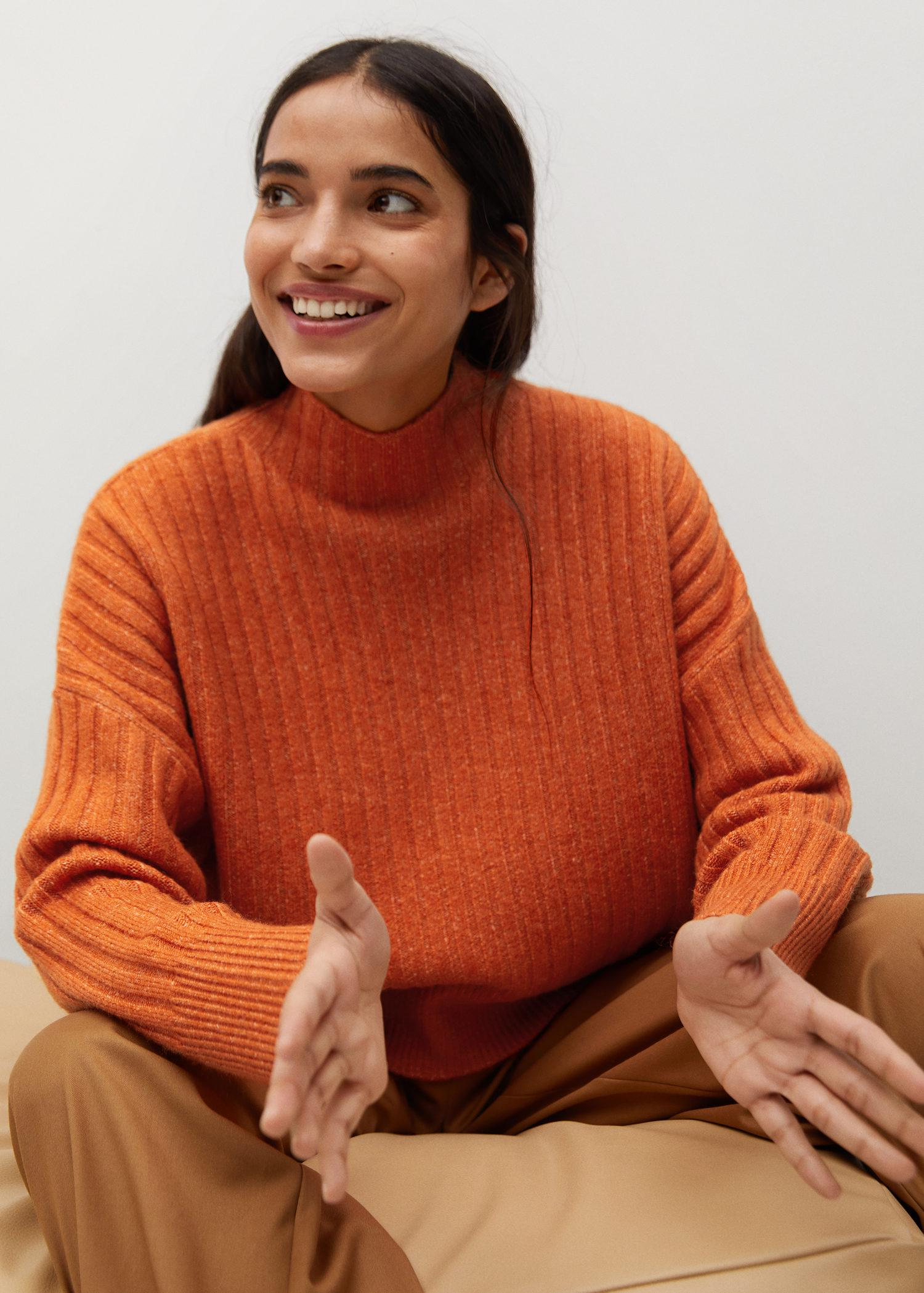 High collar ribbed knit sweater 6