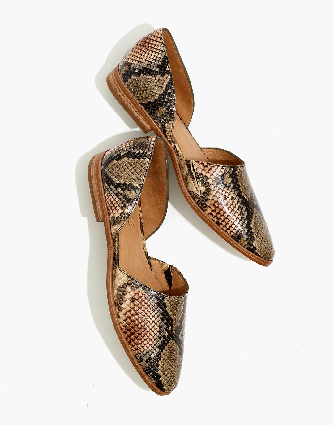 The Marisa d'Orsay Flat in Snake Embossed Leather