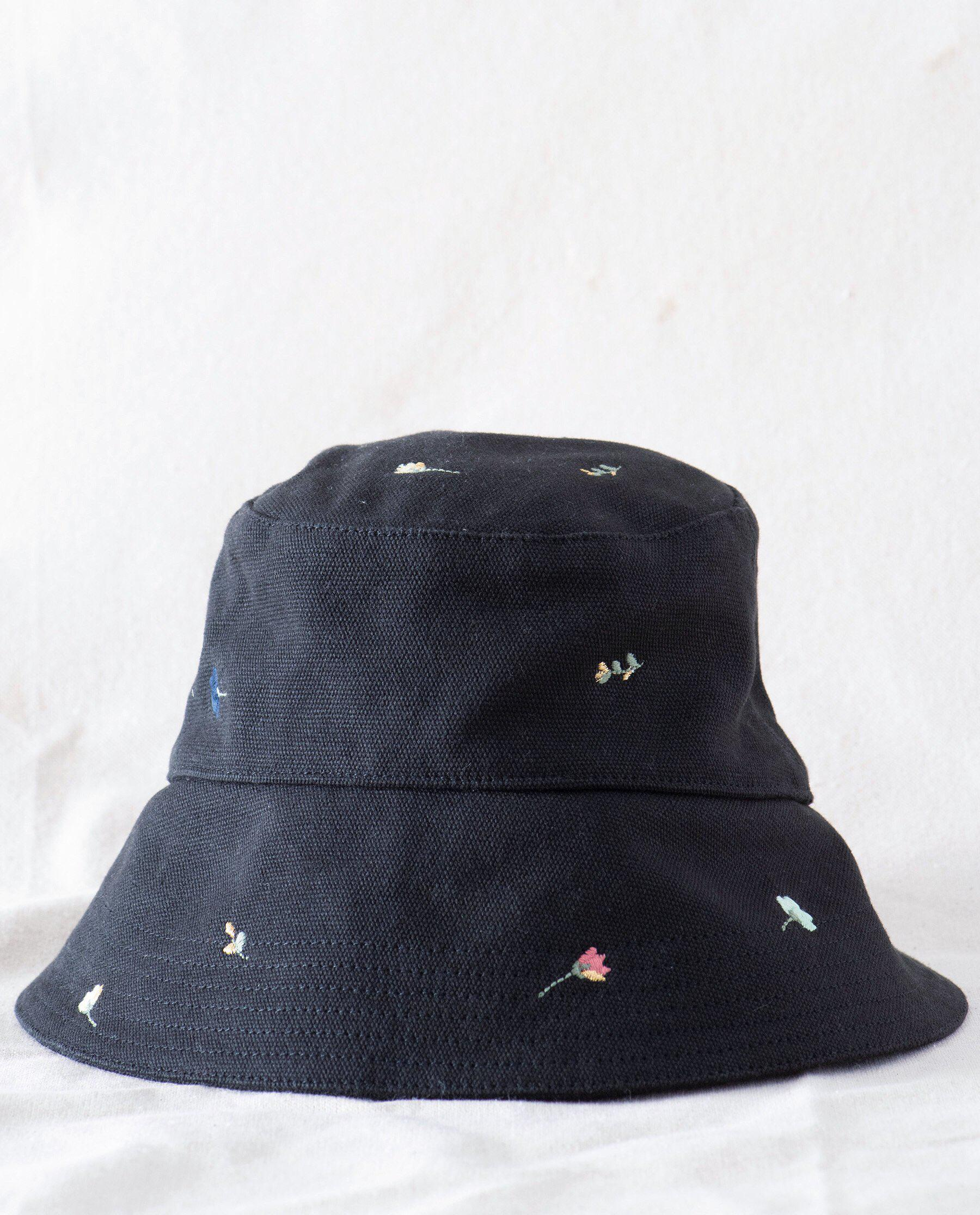 The Bucket Hat. -- Washed Black with Tossed Floral Embroidery