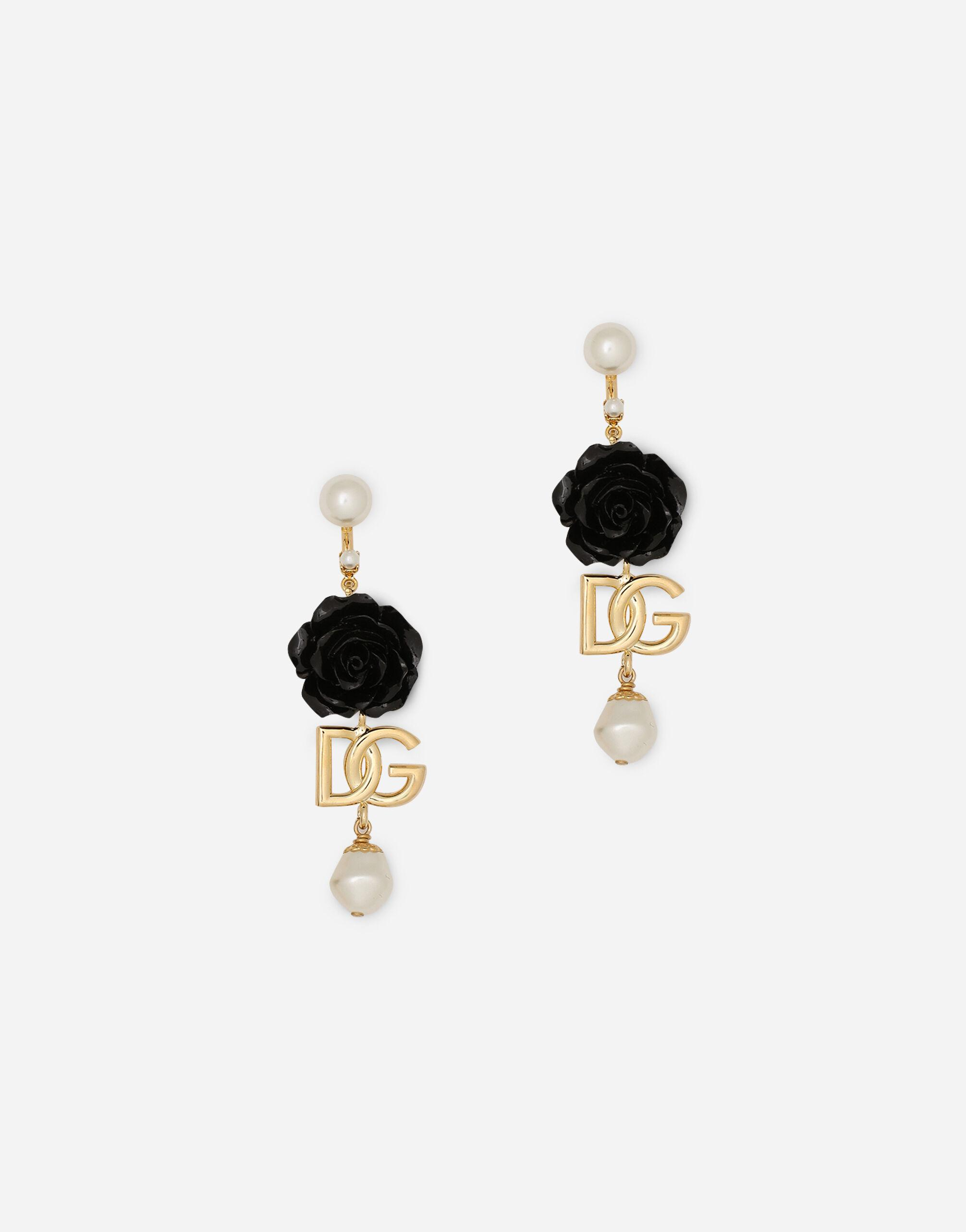 Drop earrings with roses and DG logo