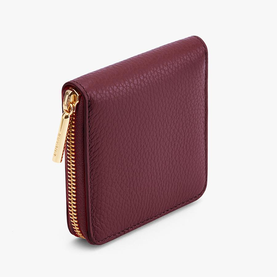 Women's Small Classic Zip Around Wallet in Merlot | Pebbled Leather by Cuyana 1