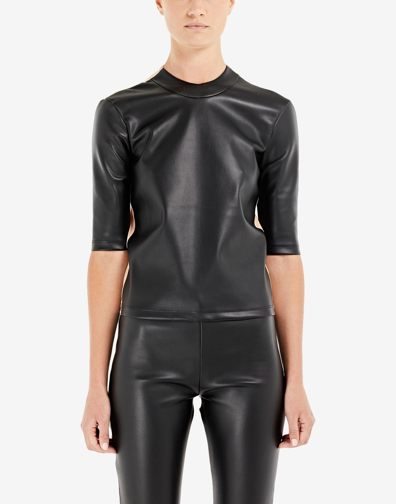 Spliced faux leather top 3