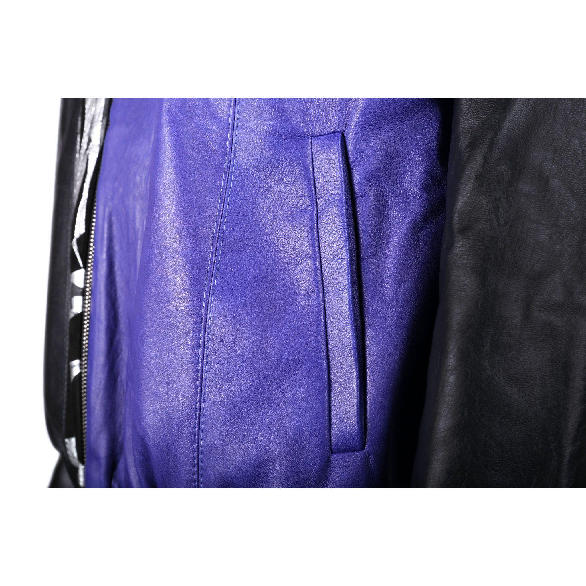 Black and Purple Leather Bomber Jacket with Silver Print Motif 2