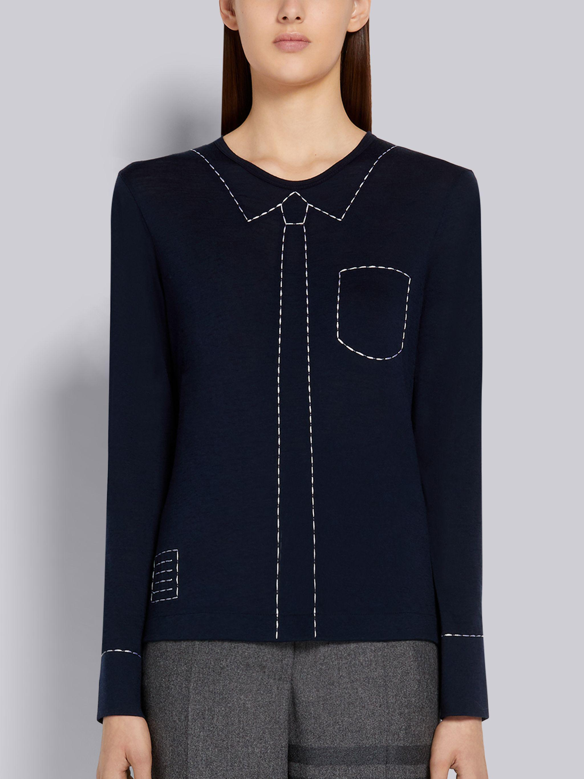 Navy Wool Jersey Trompe L'oeil Embroidery Stitching Long-sleeved Tee
