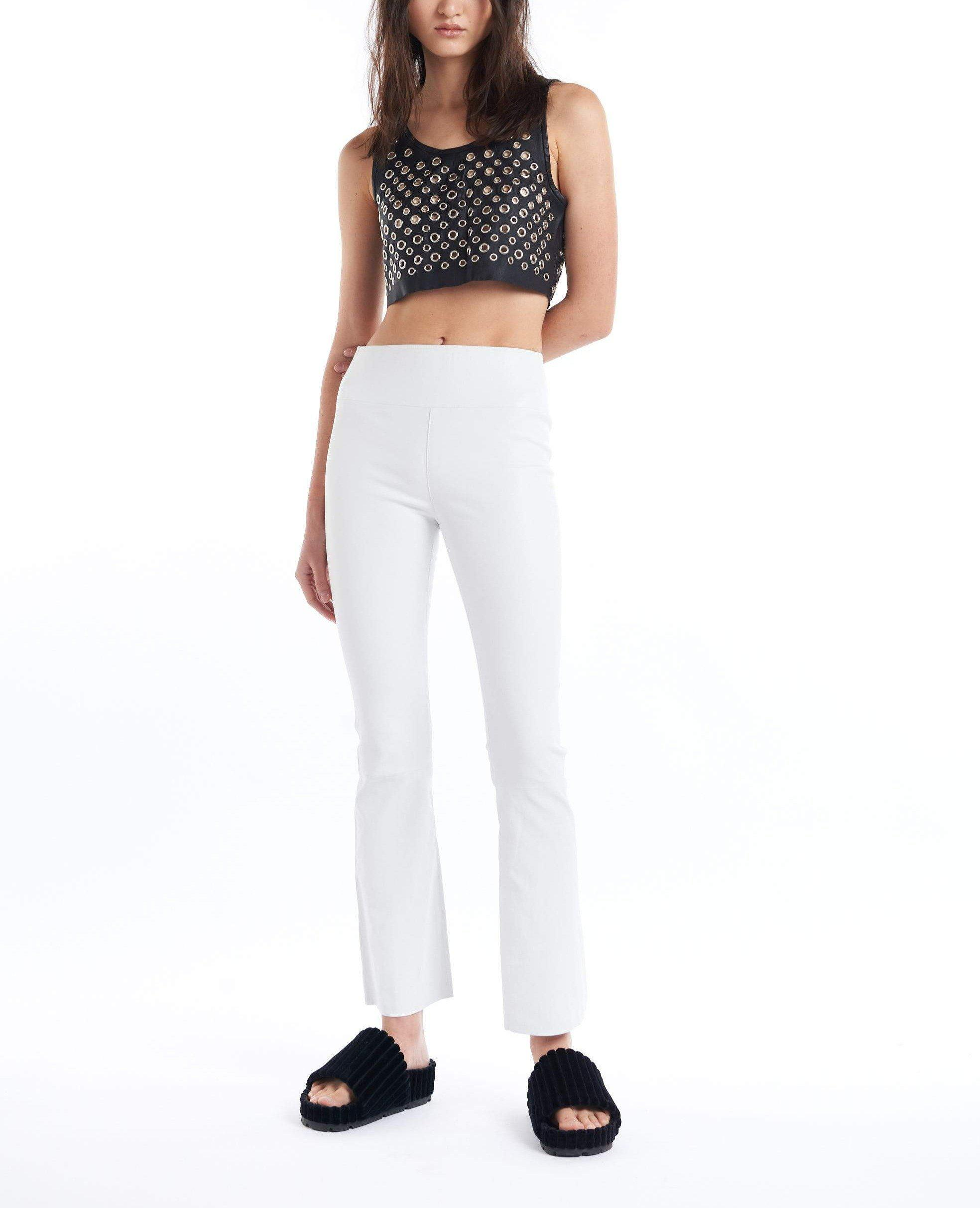 White Leather Ankle Flare Legging