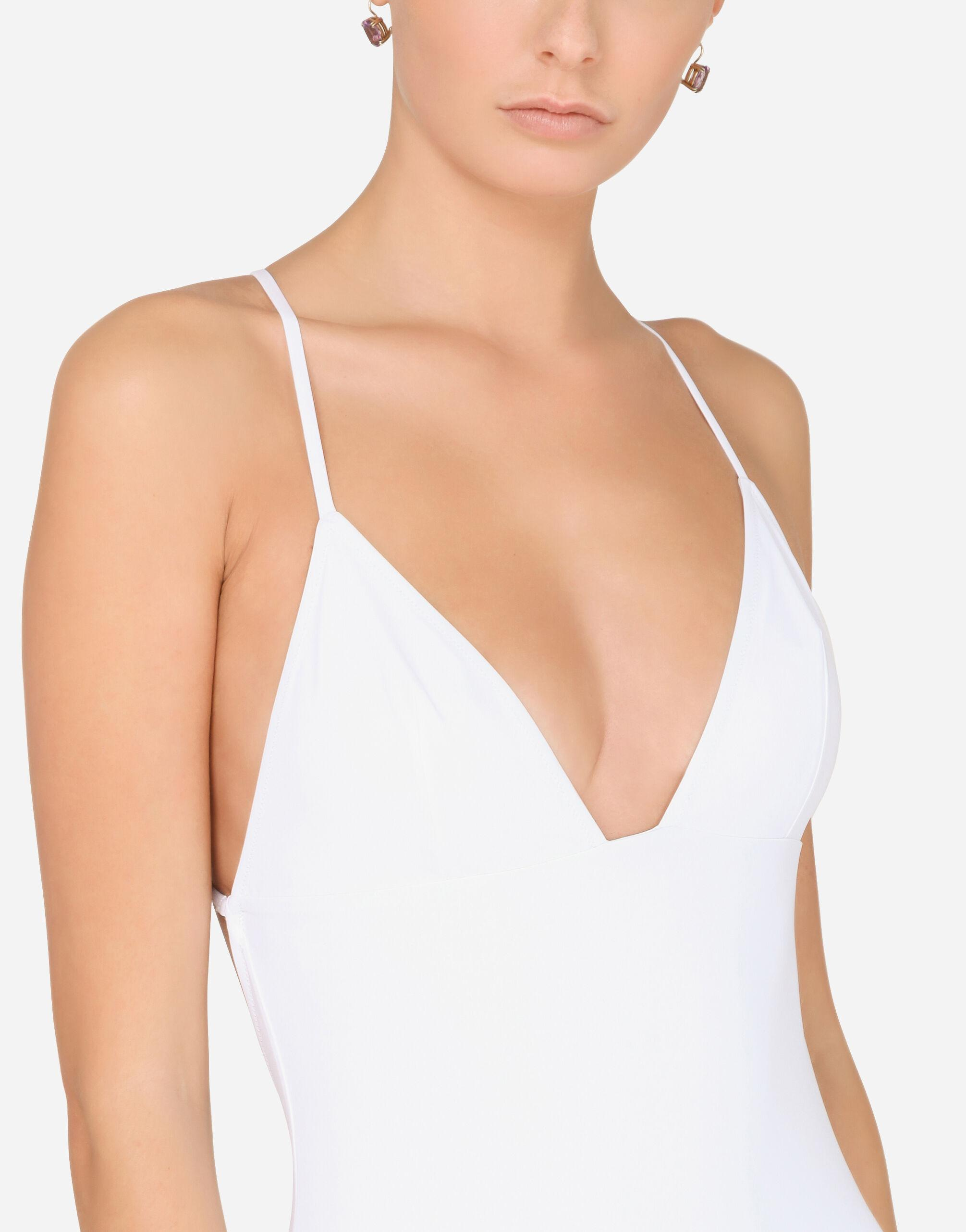 One-piece swimsuit with plunging neckline 1