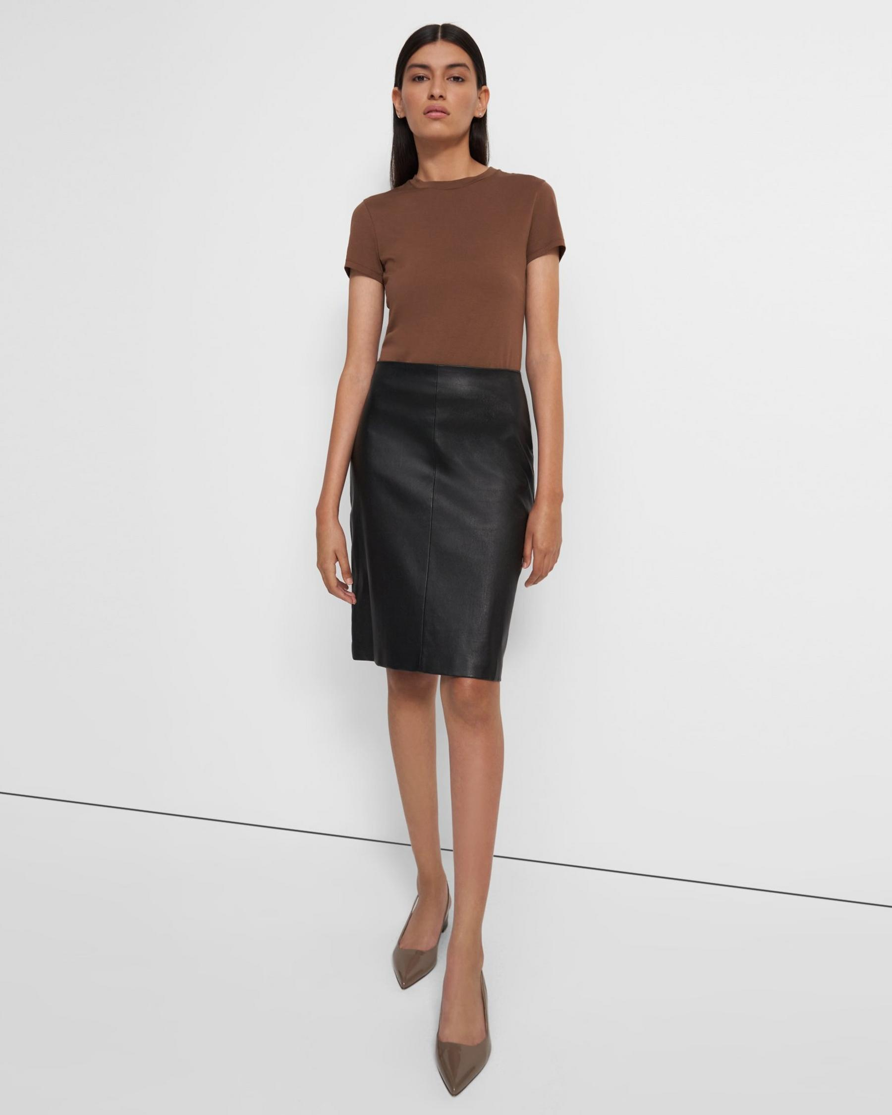 Pencil Skirt in Leather Combo